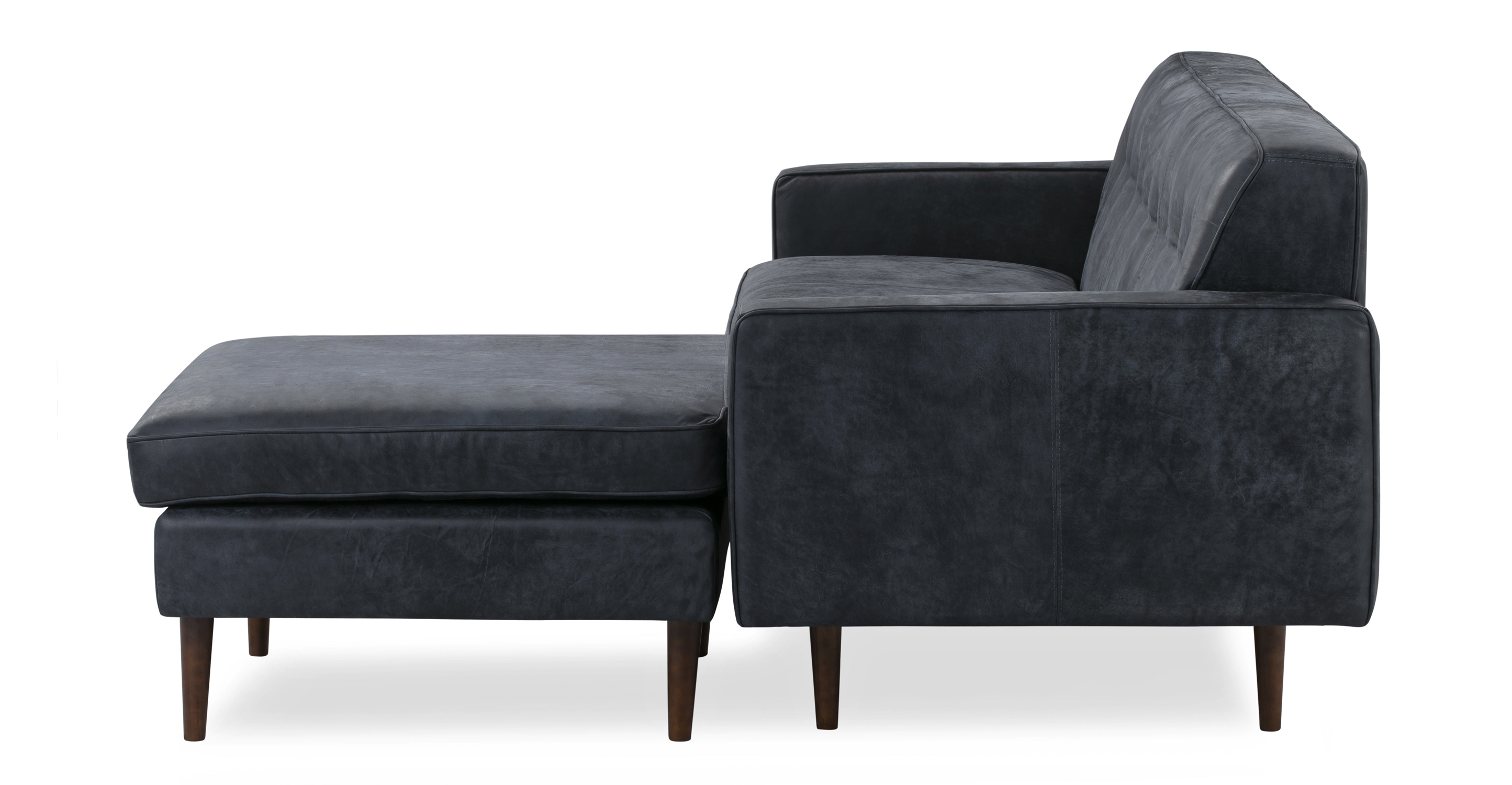 """Eleanor 85"""" Leather Sofa Sectional Right, Night Full Aniline"""