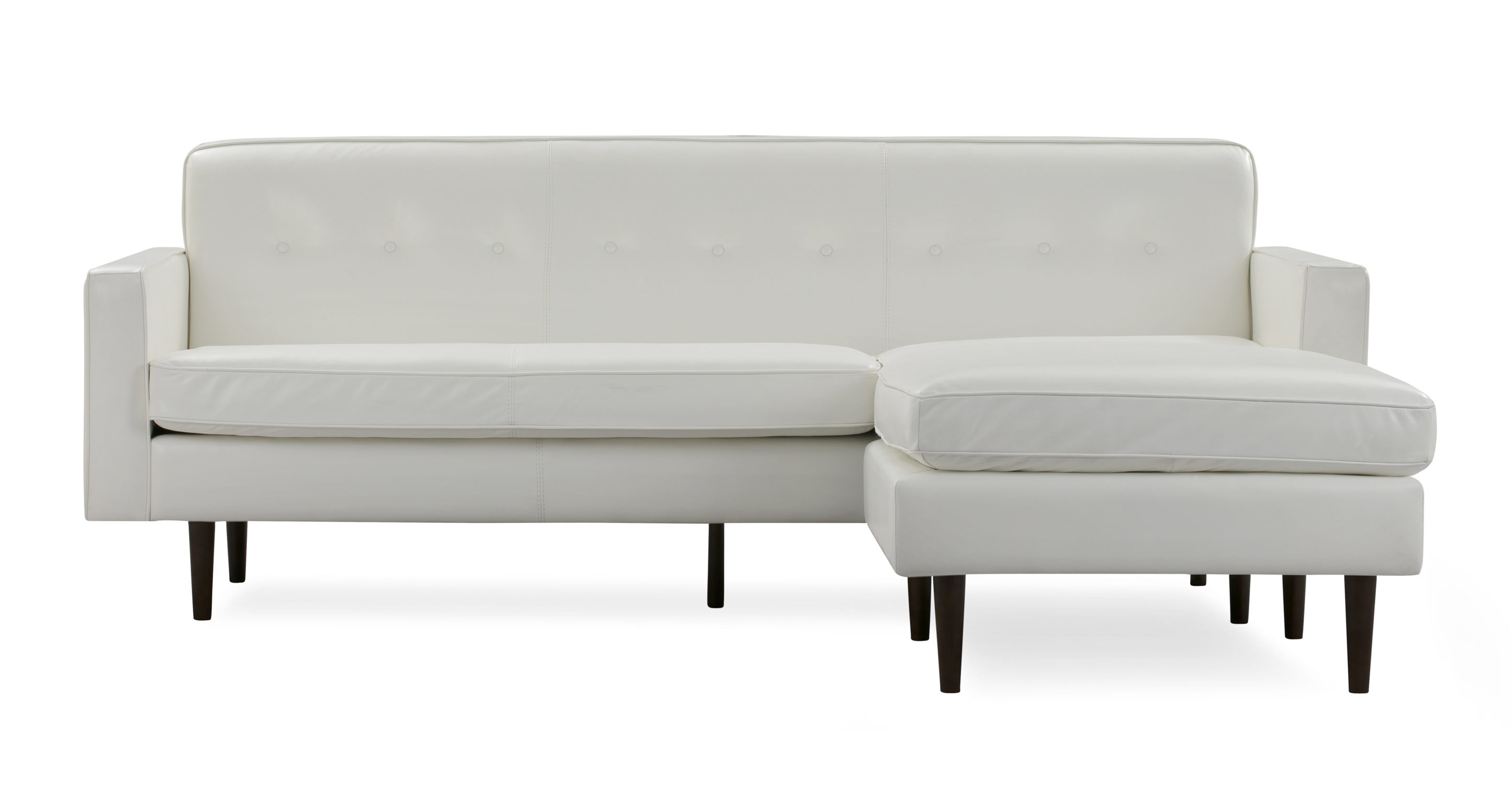 """Eleanor 85"""" Leather Sofa Sectional Right, White Top Grain Aniline"""