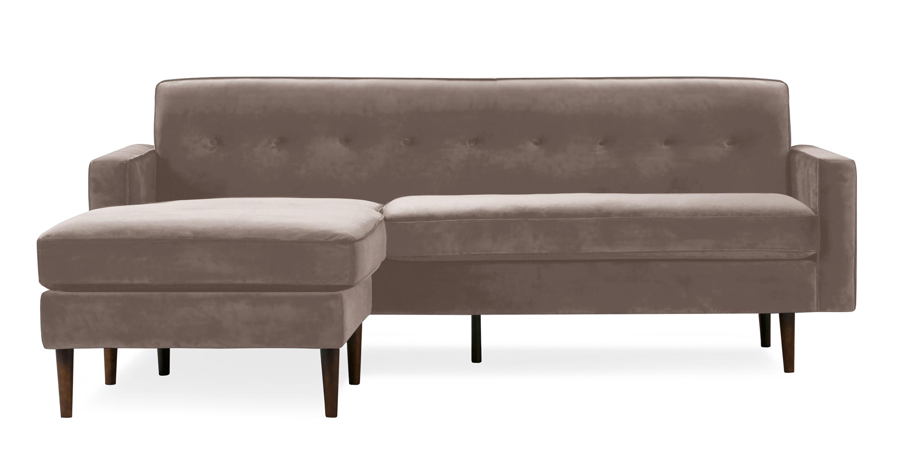 "Eleanor 85"" Leather Sofa Bi-Sectional, Chateau Velvet"