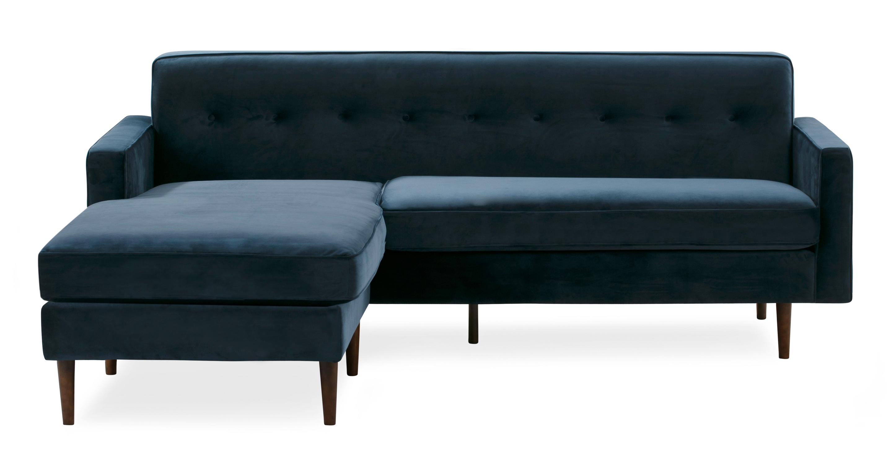 """Eleanor 85"""" Fabric Sofa Bi-Sectional, Royal Blue Velvet"""