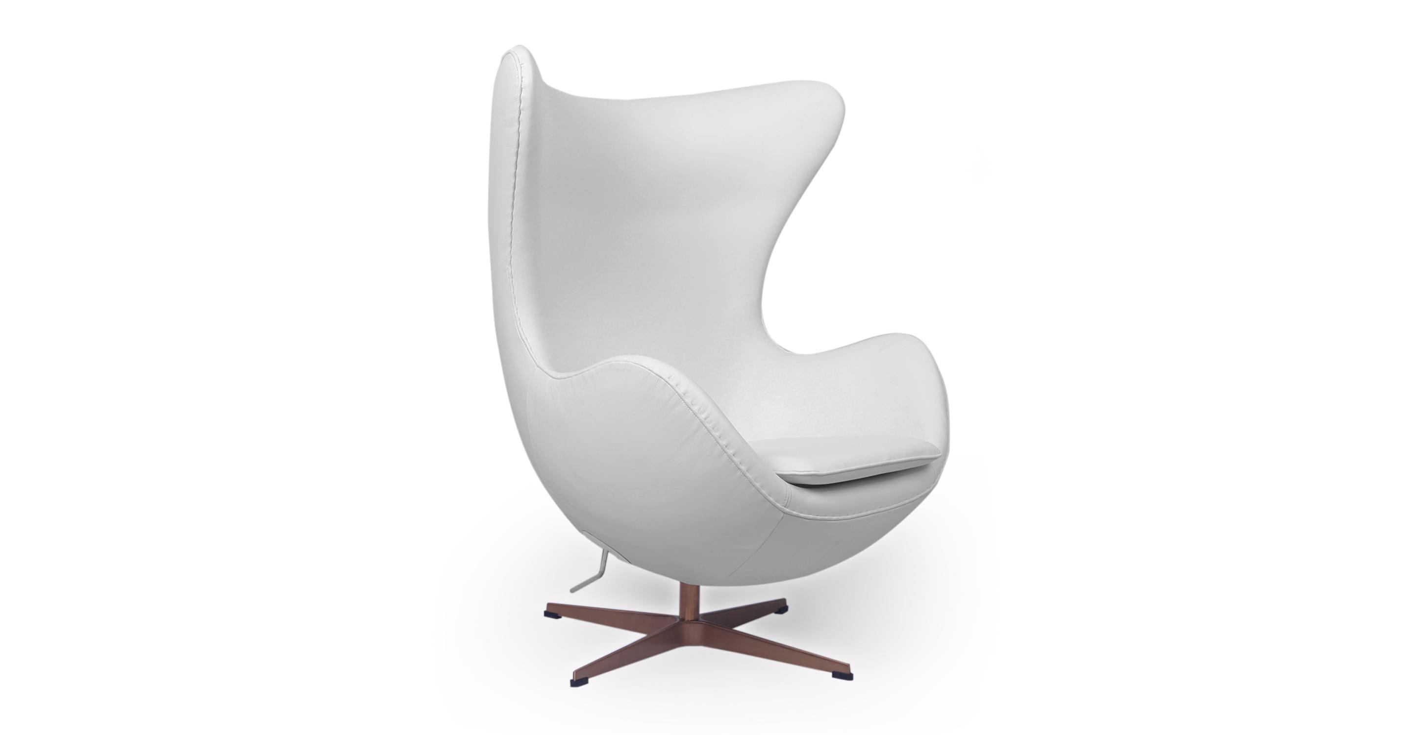 Amoeba Chair & Ottoman, Ecume Gold/White Premium Leather
