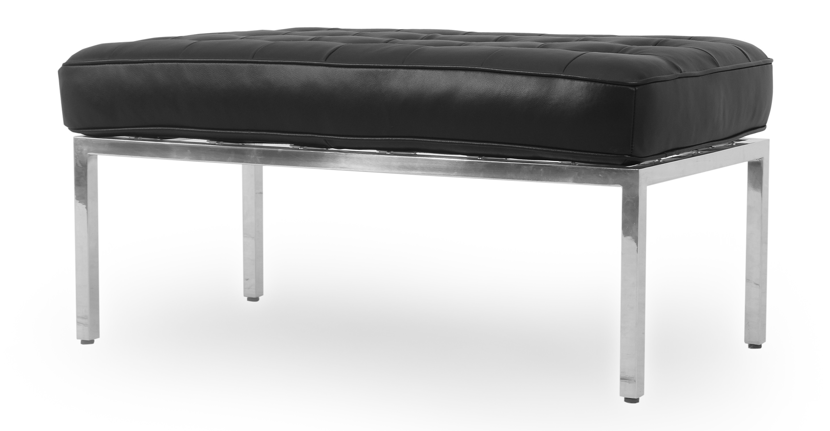 "Florence 36"" Leather Bench, Black"