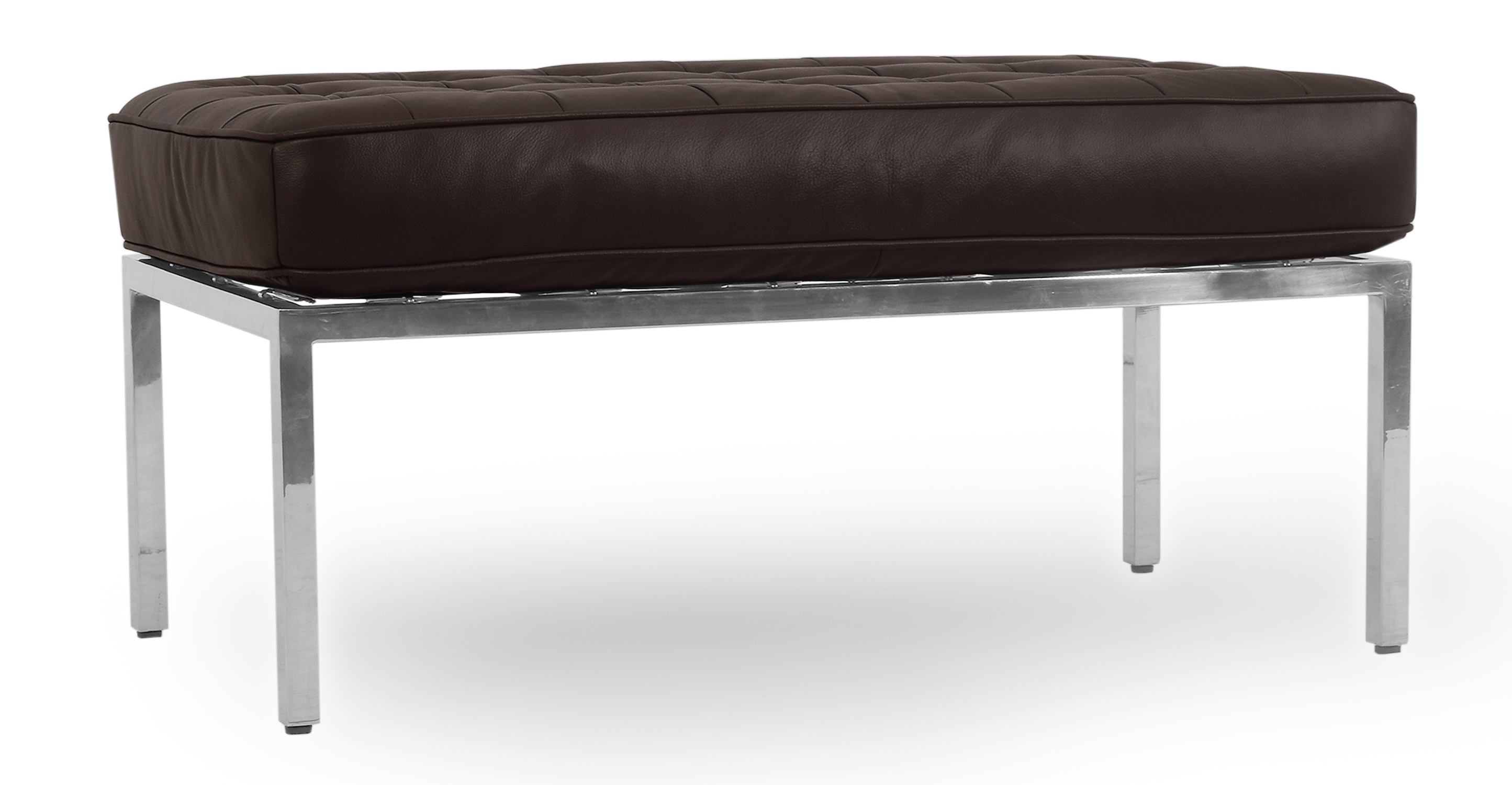 "Florence 36"" Leather Bench, Brown Top Grain Semi Aniline"