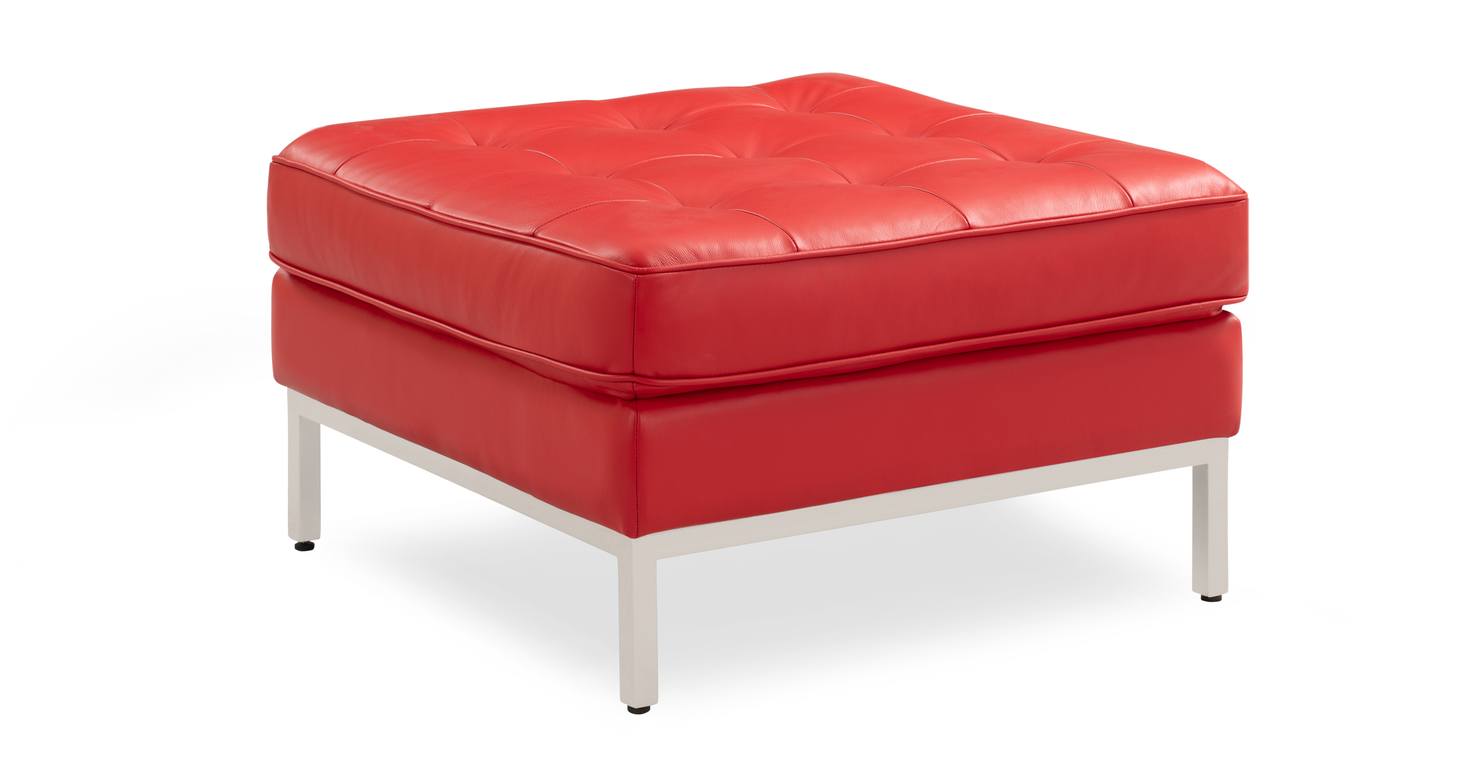 """Florence 28"""" Leather Ottoman, Red Top Grain Aniline"""