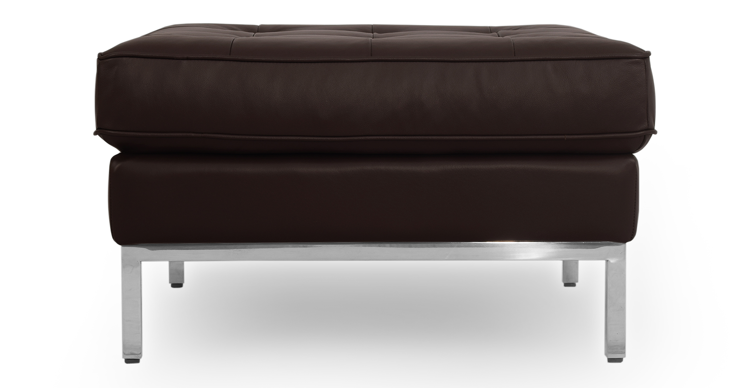 "Florence 28"" Leather Ottoman, Brown"
