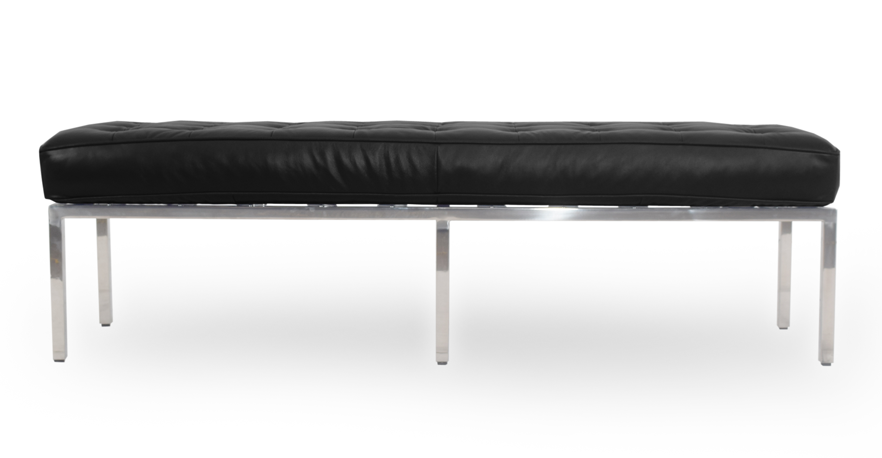 """Florence 59"""" Leather Bench, Black"""