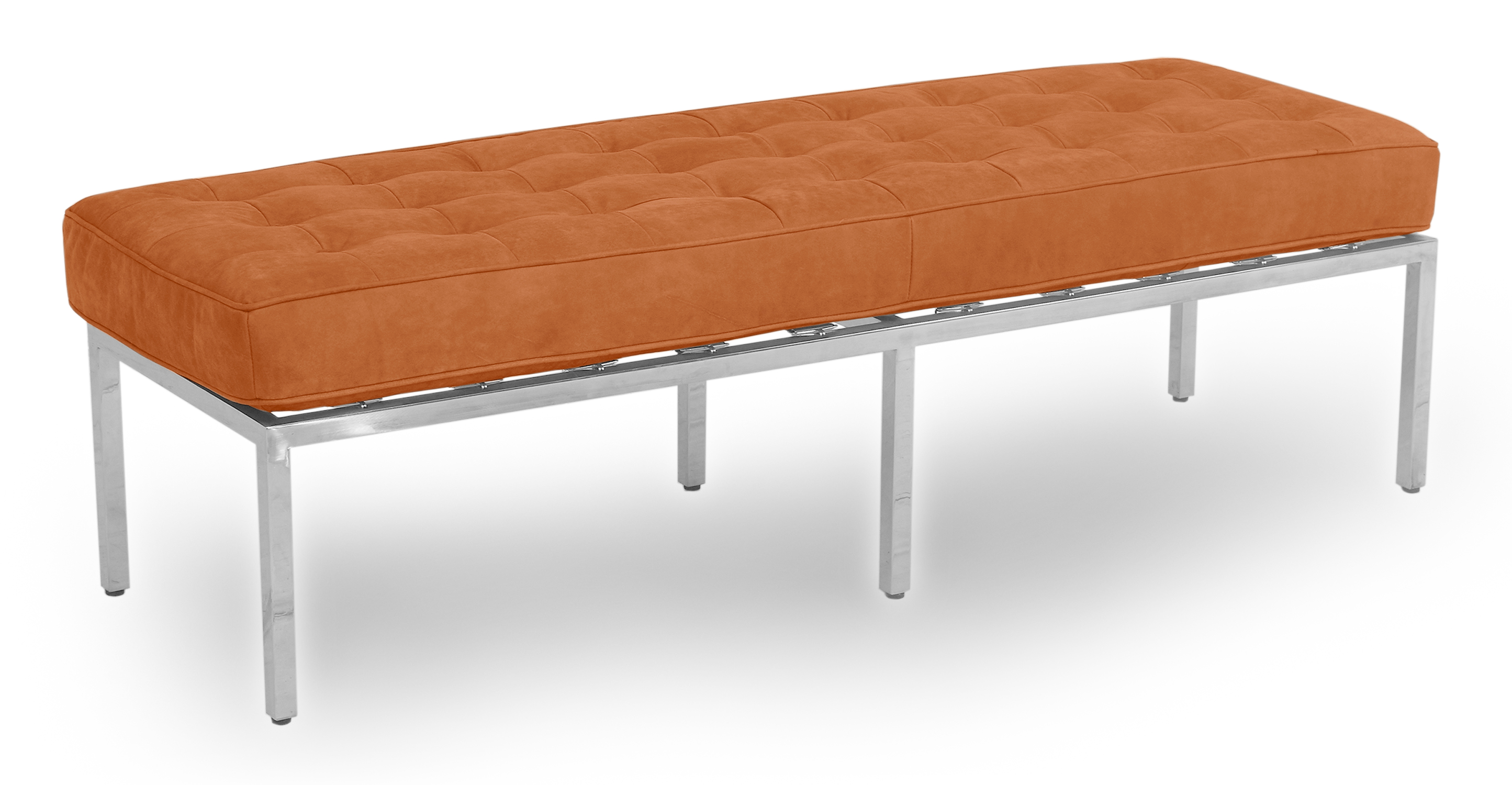 "Florence 59"" Leather Bench, Pecan Full Grain Aniline"