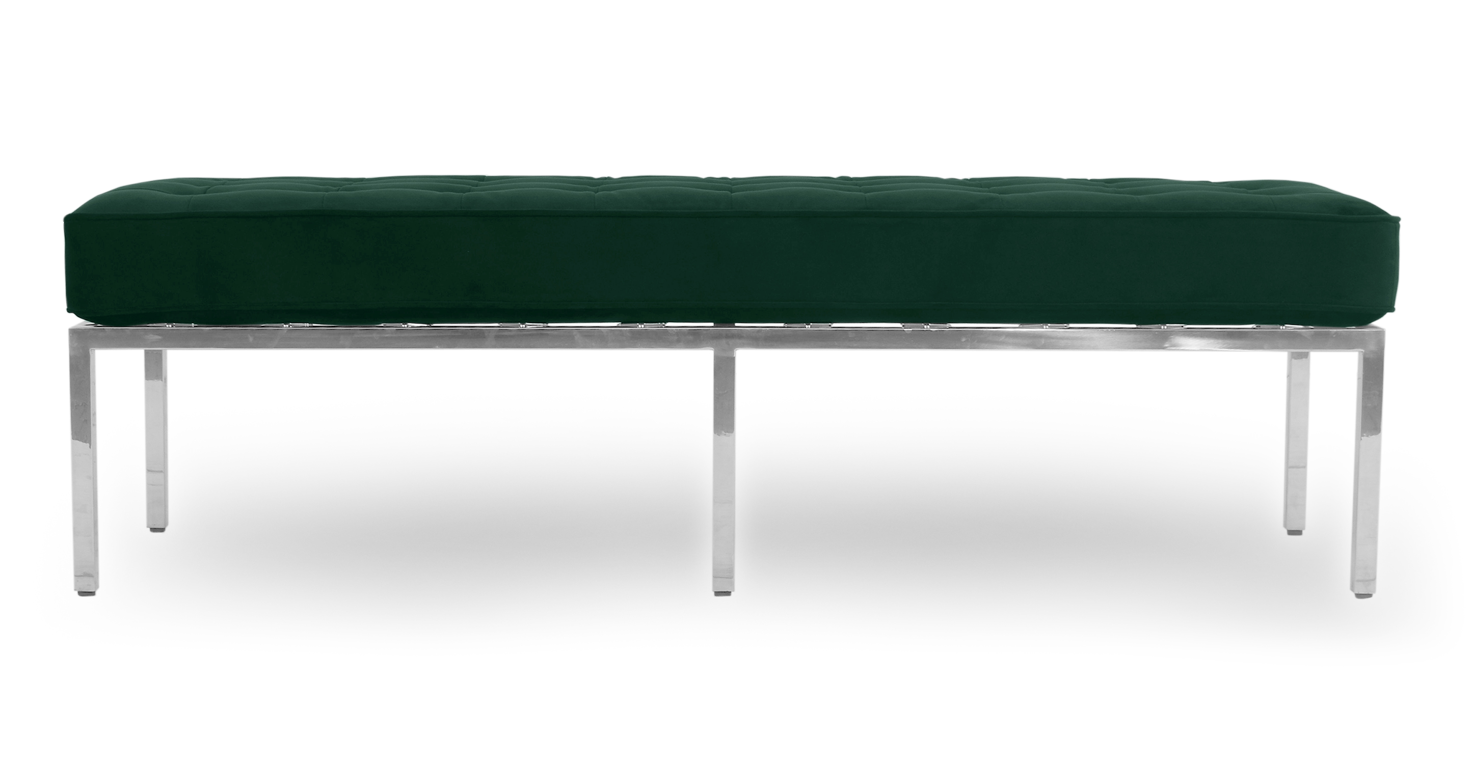 "Florence 59"" Fabric Bench, Forest Velvet"