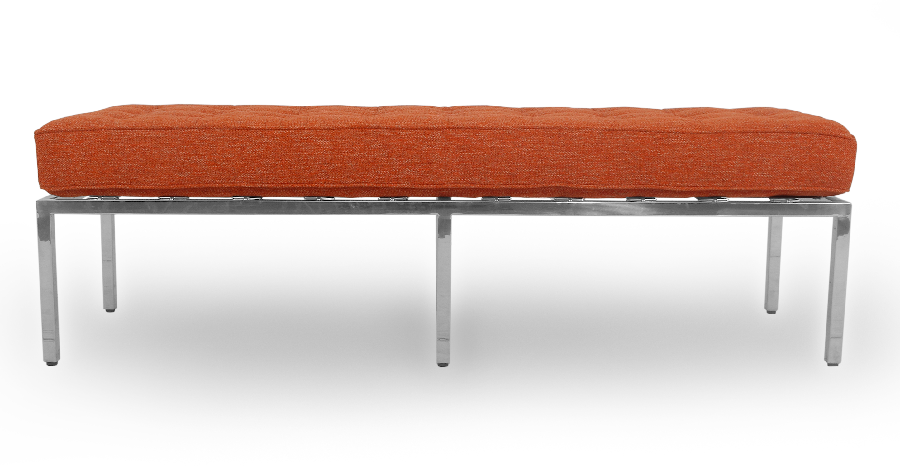 "Florence 59"" Fabric Bench, Tangerine"