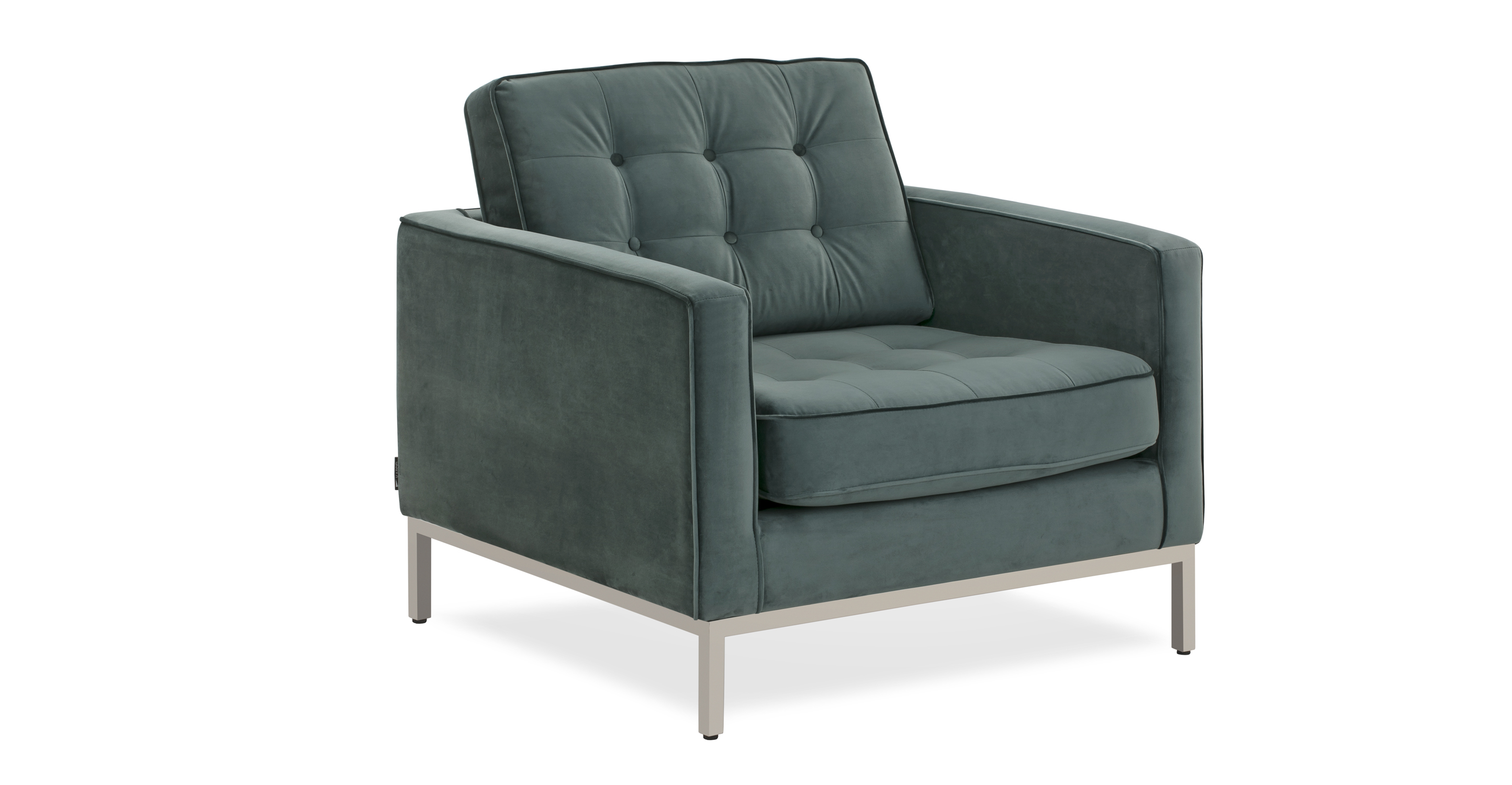 """Florence 35"""" Fabric Chair, Prussian Velvet"""