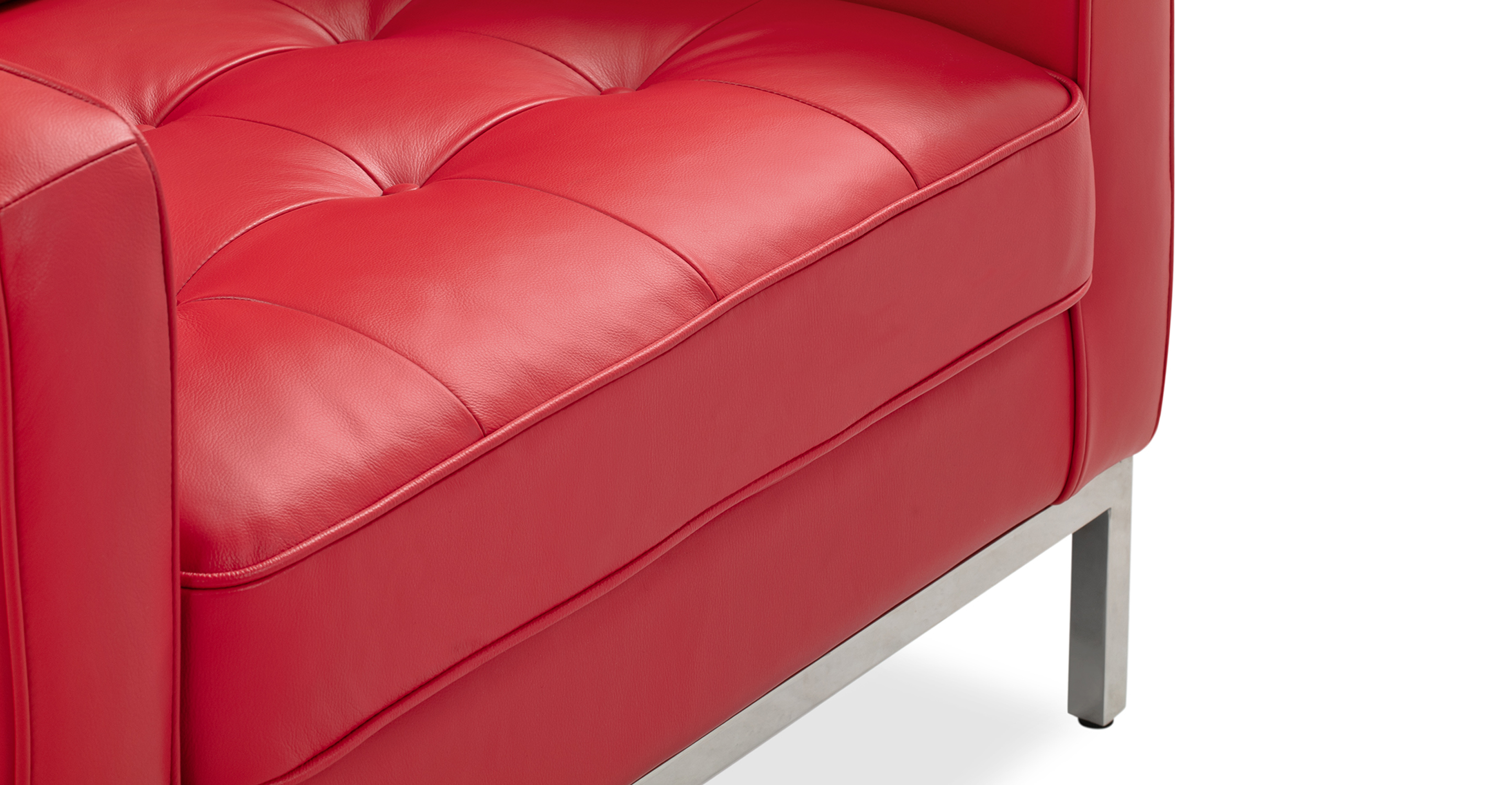 """Florence 35"""" Leather Chair, Red Top Grain Semi Aniline"""