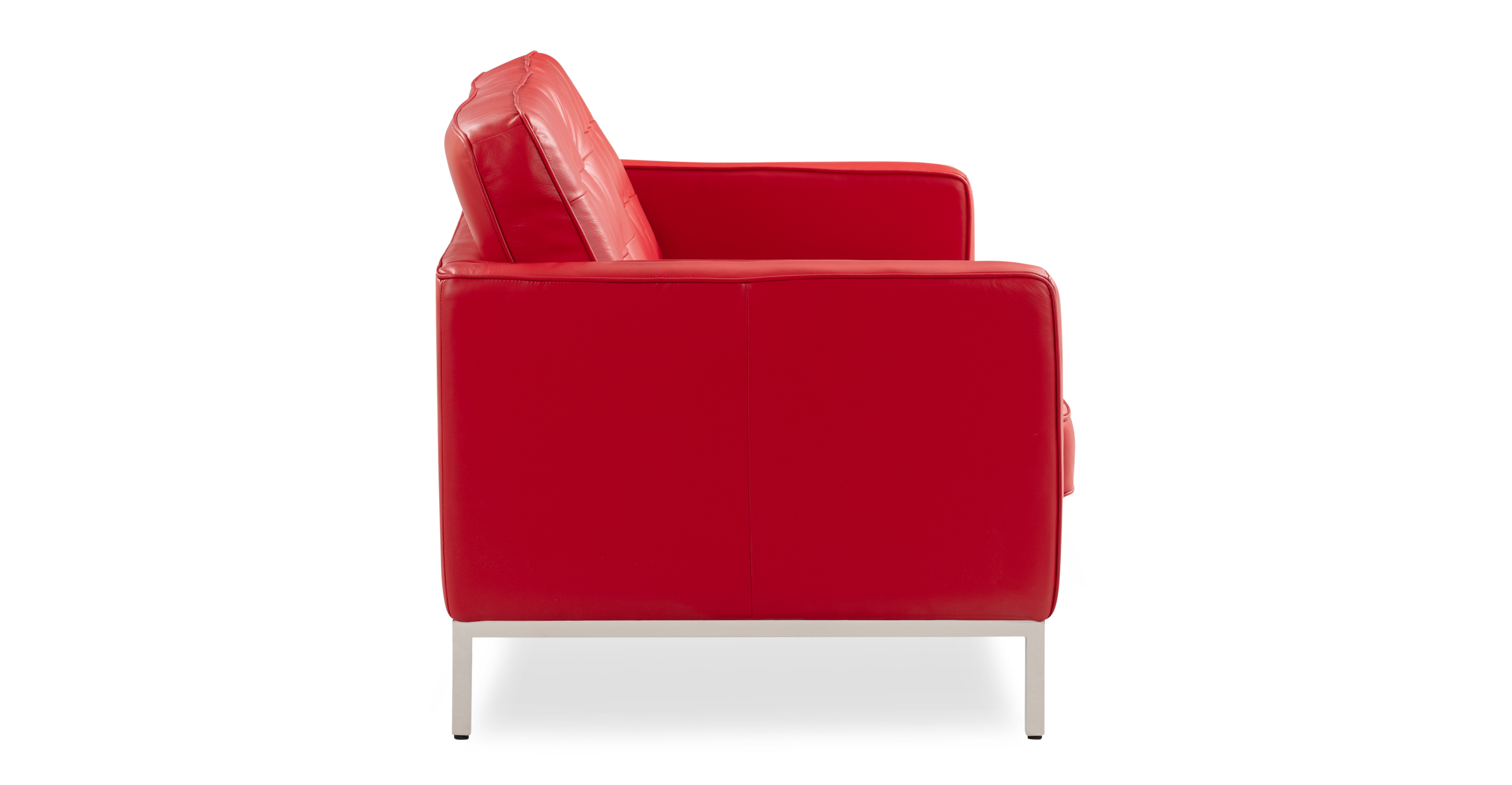 "Florence 62"" Leather Sofa, Red Top Grain Semi Aniline"
