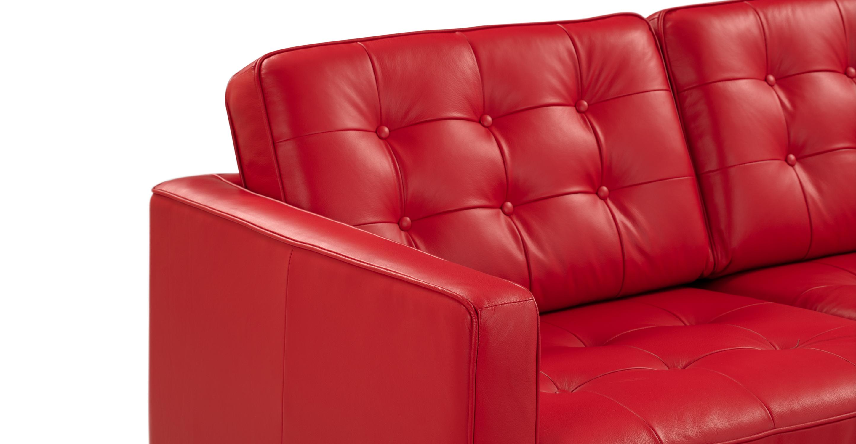 "Florence 89"" Leather Sofa, Red Top Grain Semi Aniline"