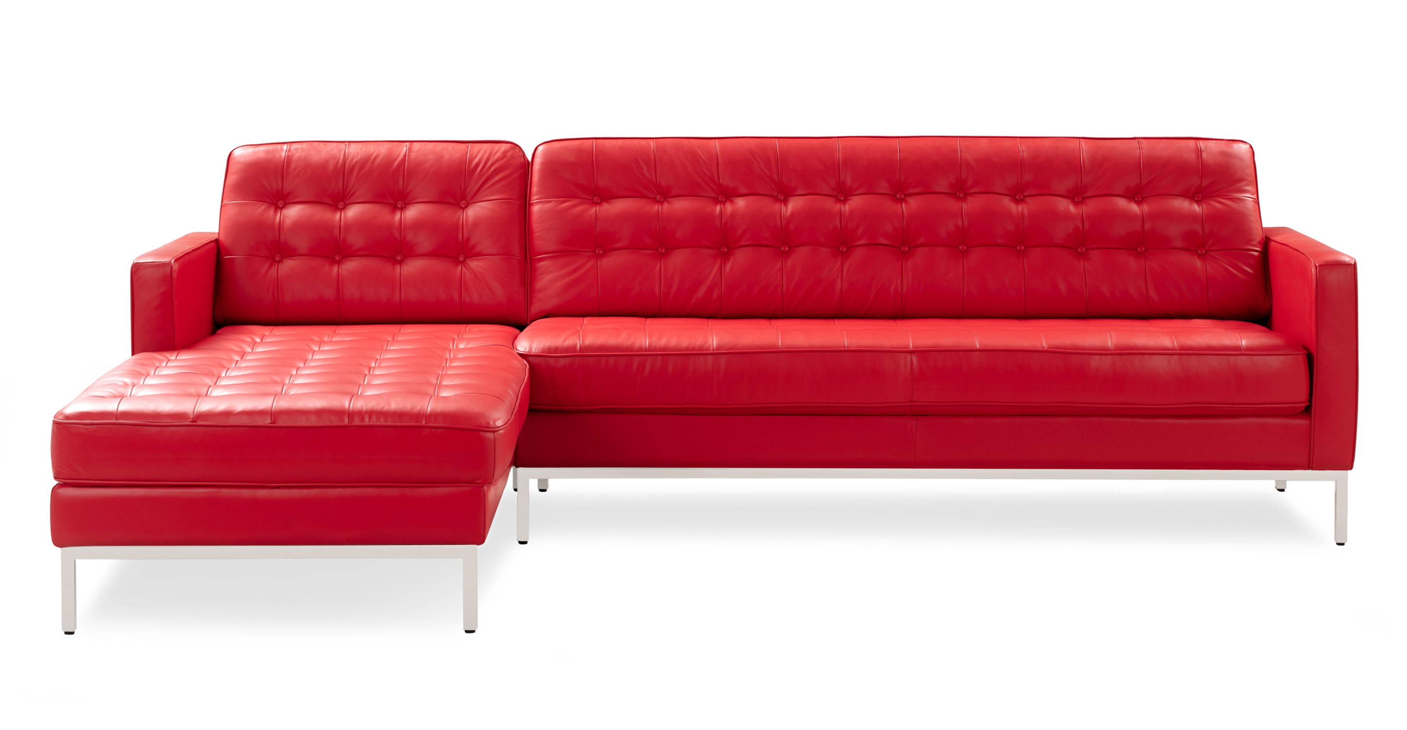 """Florence 101"""" Leather Left Sectional, Red Top Grain"""