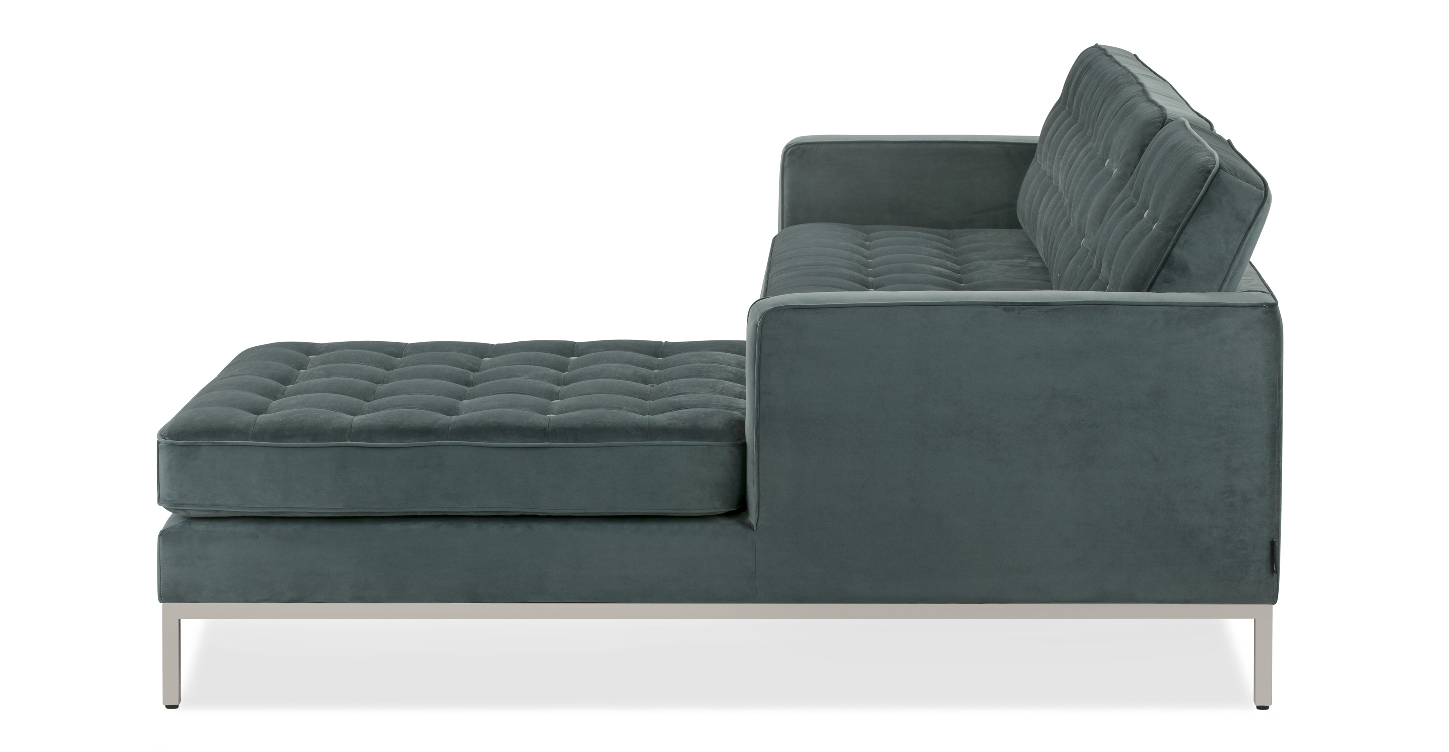 """Florence 101"""" Fabric Right Sectional, Prussian Velvet"""