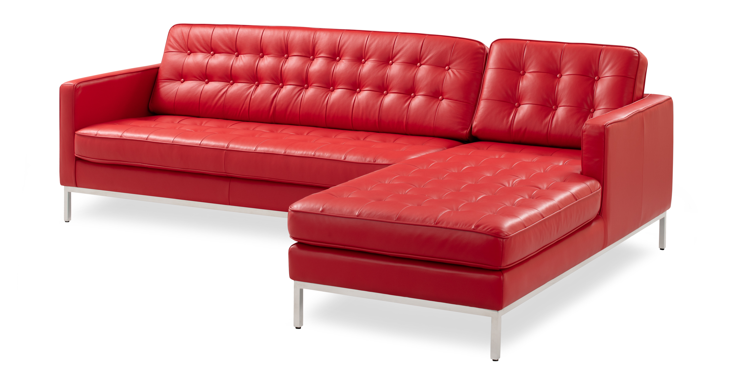 """Florence 101"""" Leather Right Sectional, Red Top Grain"""