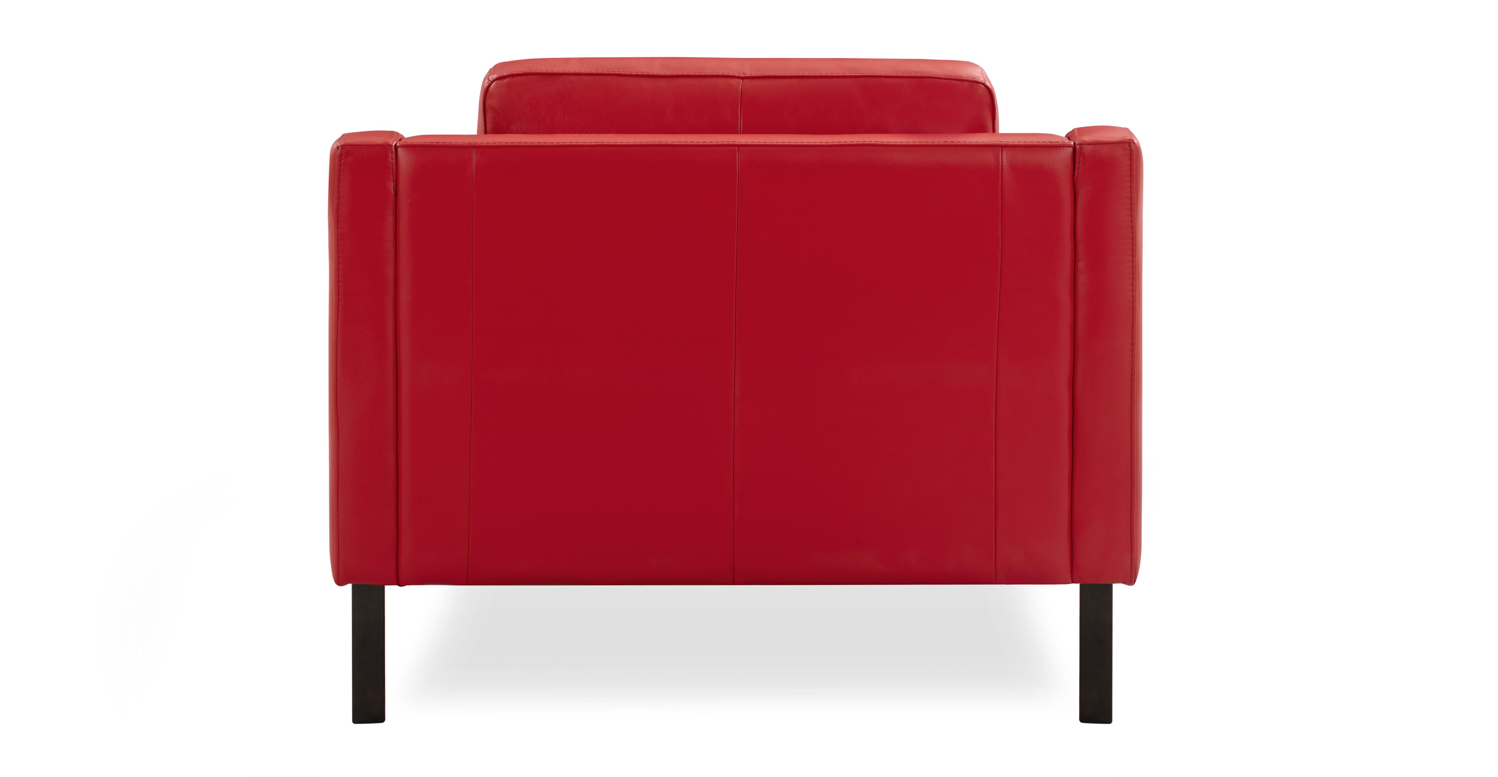 "Monroe 39"" Leather Chair, Red Top Grain Aniline"