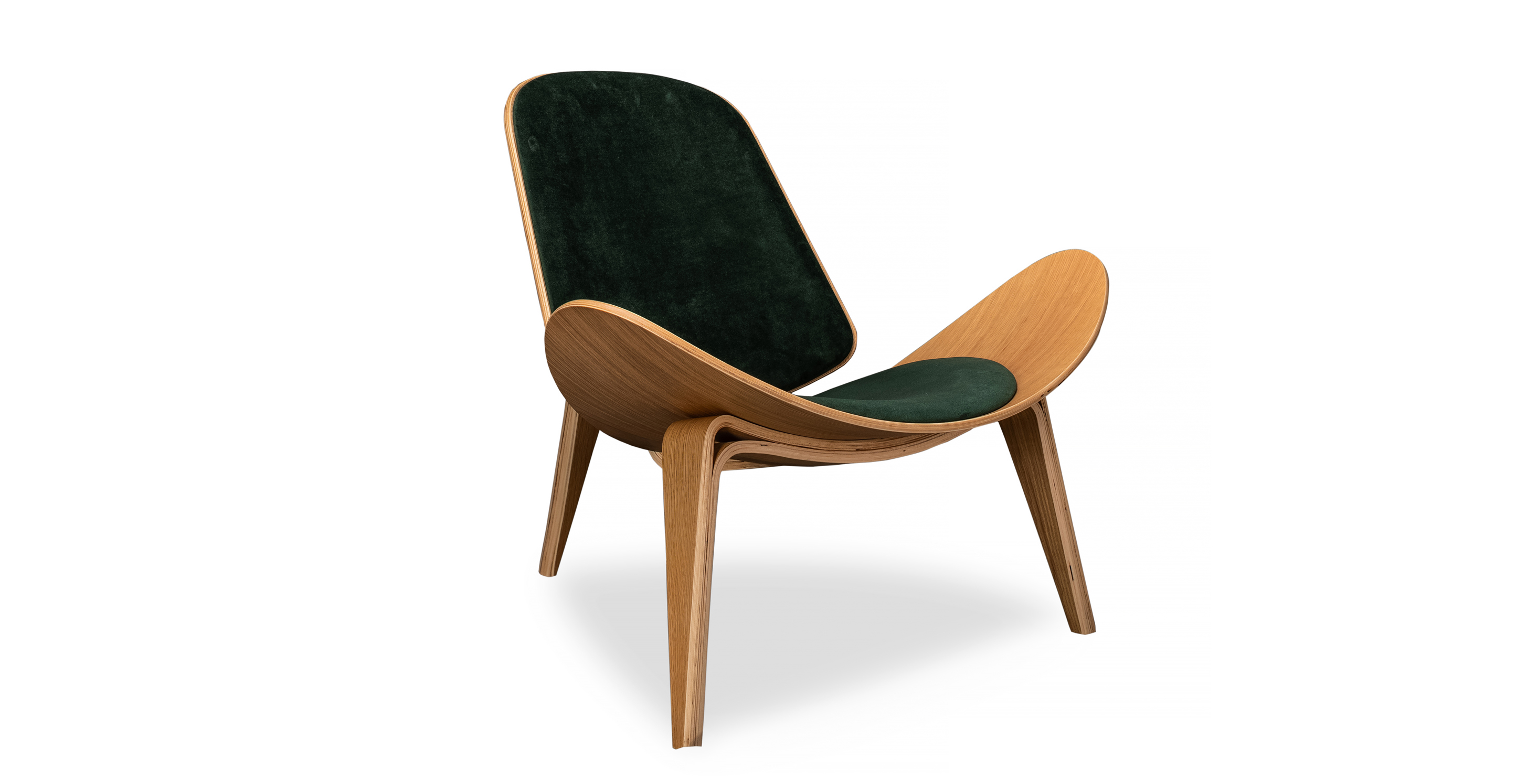 """Tripod 36"""" Fabric Chair, Oak/Jade Velvet"""