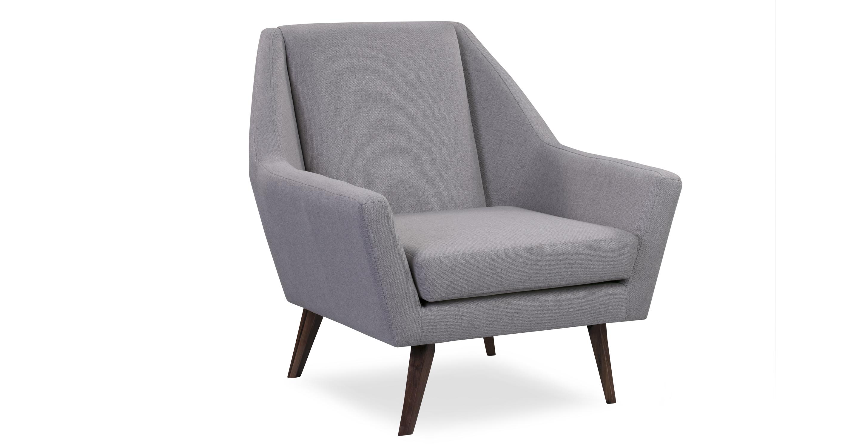 "Angle 33"" Fabric Chair, Walnut/Mist"