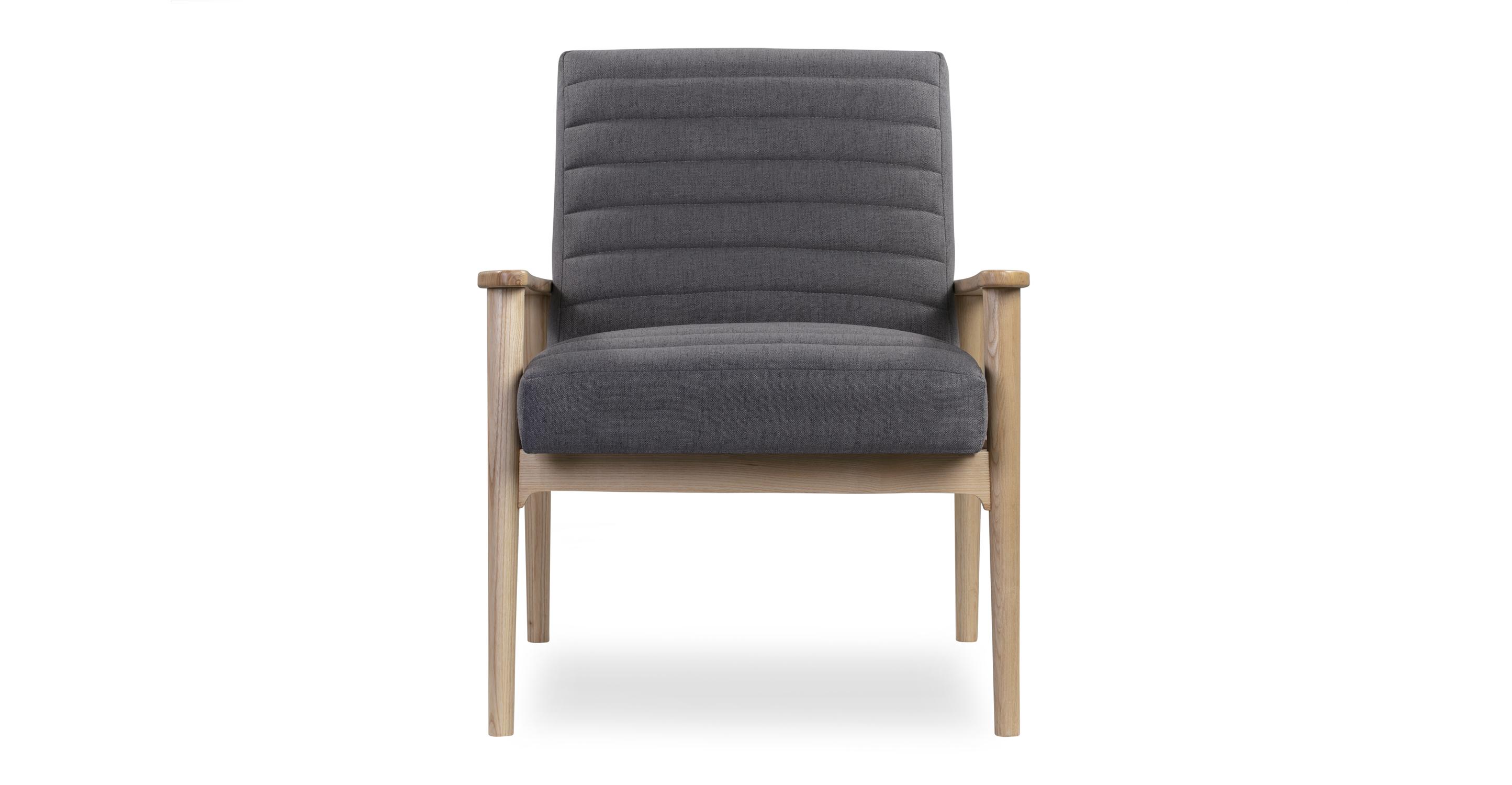 """Mies 26"""" Fabric Chair, Ash/Smoke"""