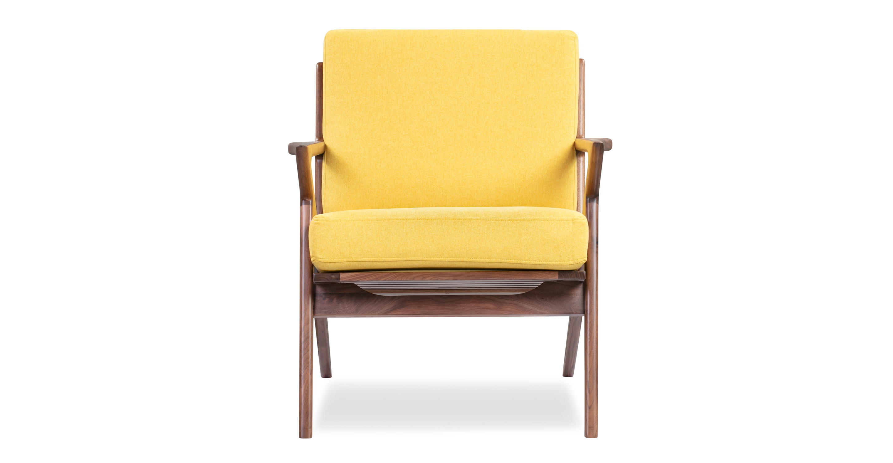 "Partridge 30"" Fabric Chair, Walnut/Canary"