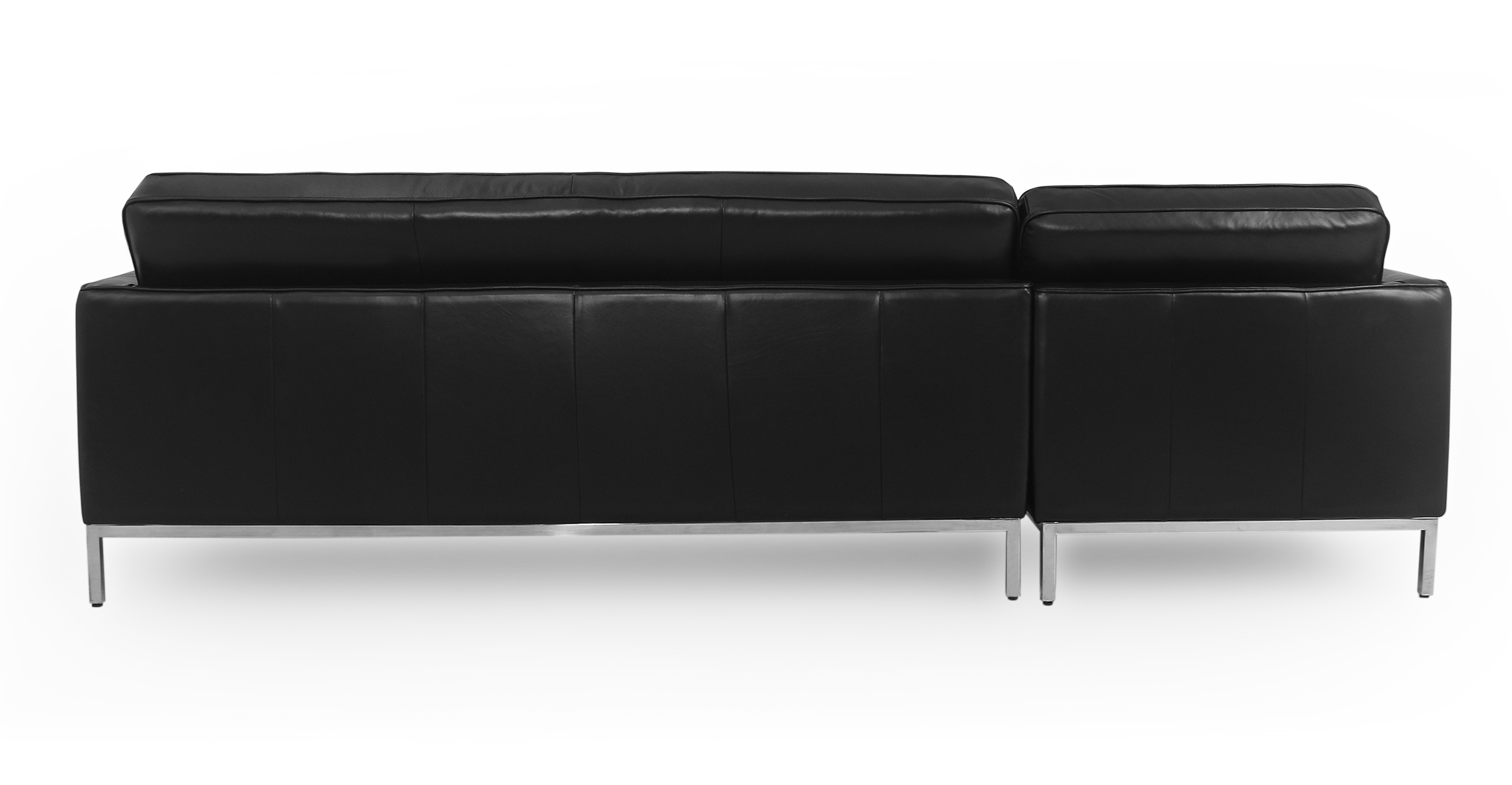 """Florence 101"""" Leather Left Sectional, Black Top Grain"""