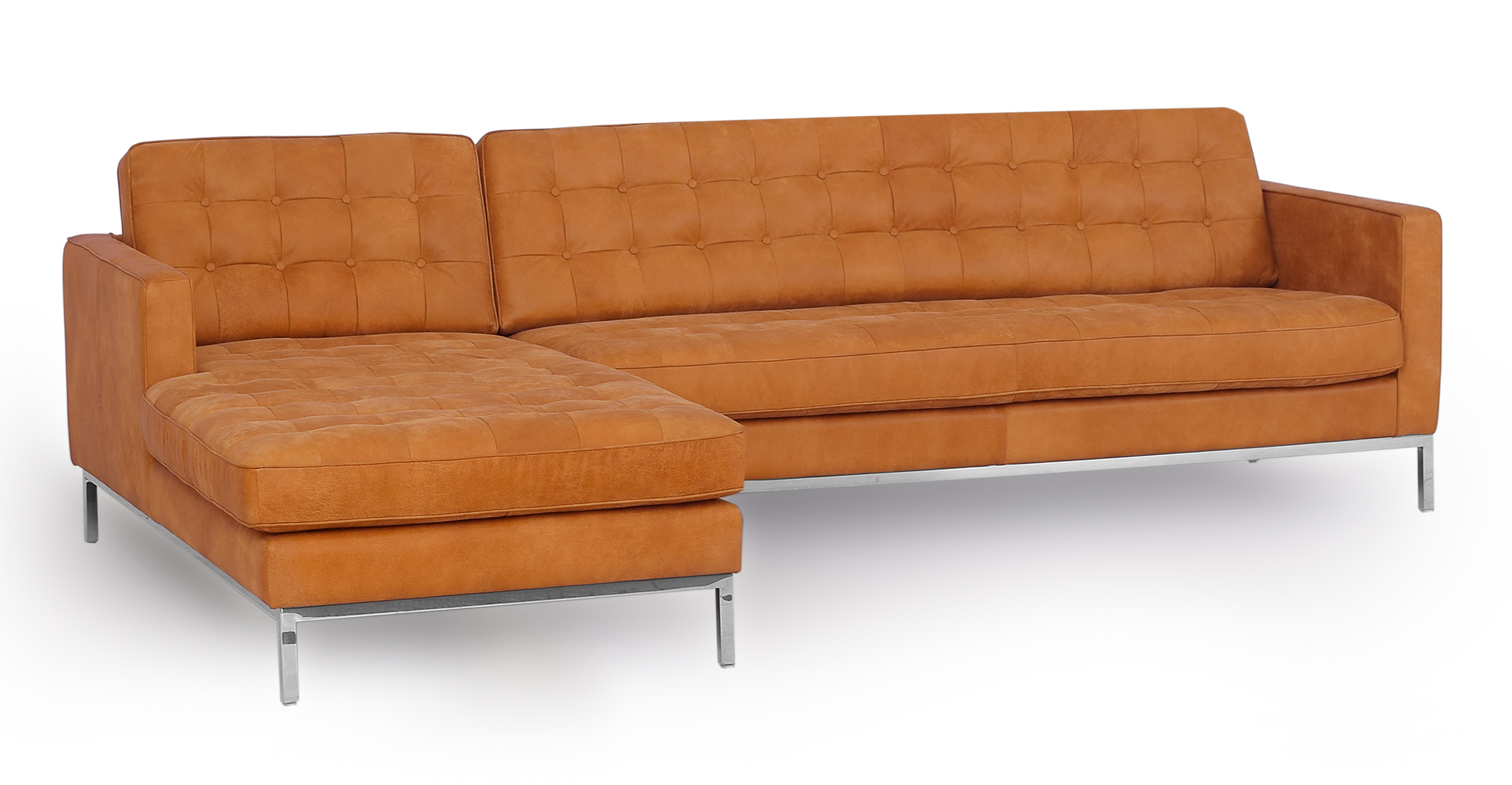 "Florence 101"" Leather Left Sectional, Pecan Full Grain Aniline"