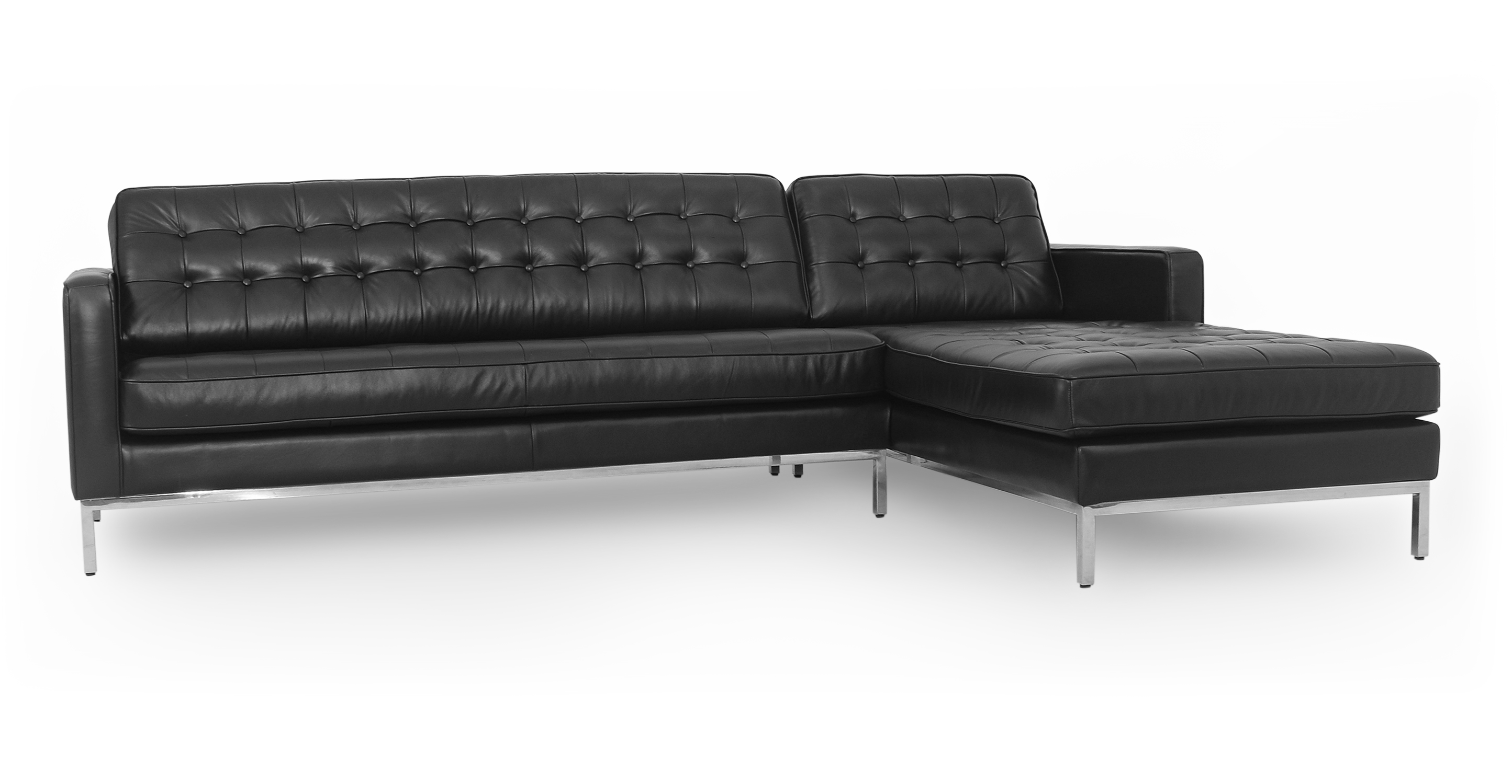 "Florence 101"" Leather Right Sectional, Black Top Grain"