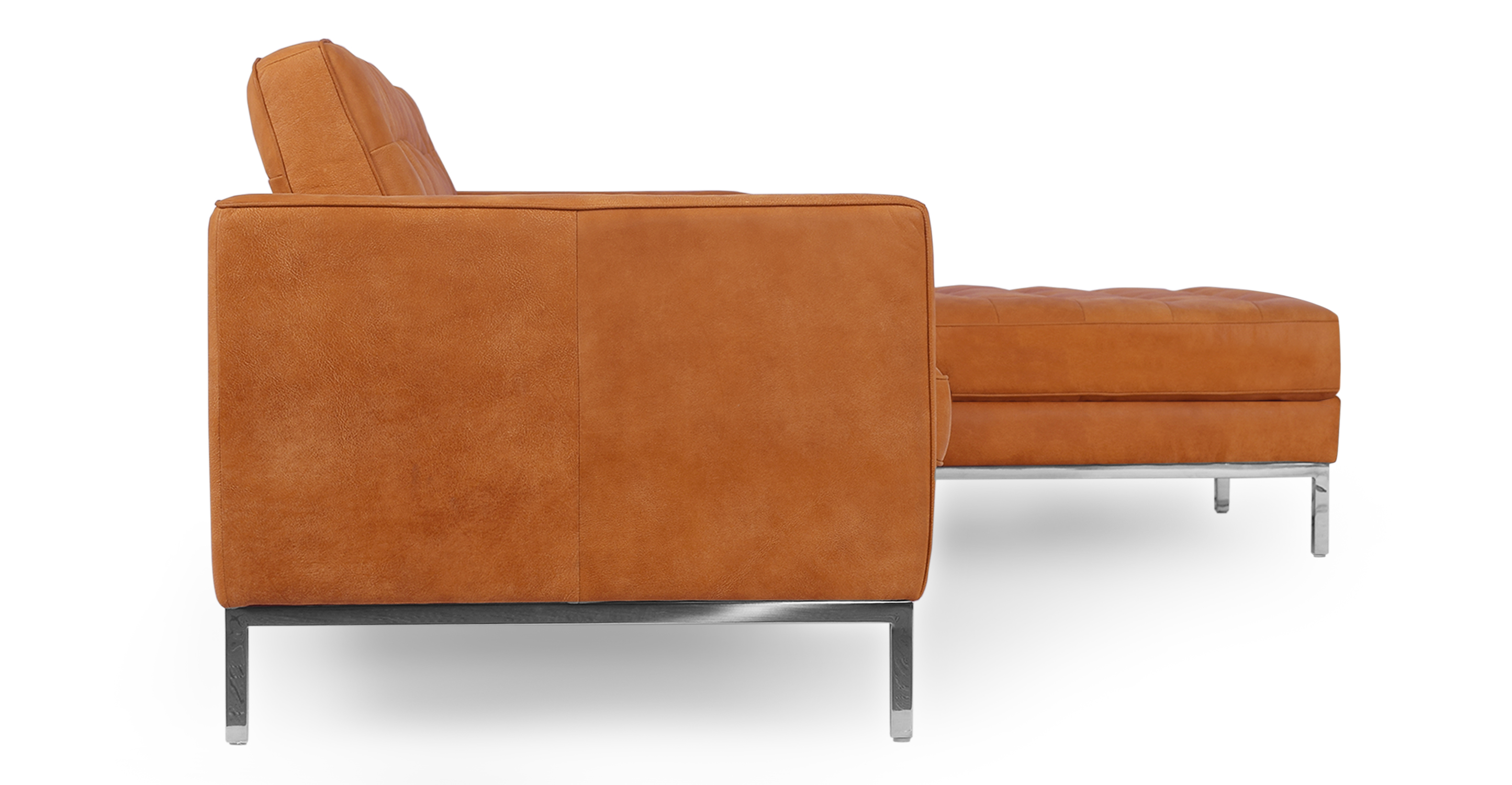 """Florence 101"""" Leather Right Sectional, Pecan Full Grain Aniline"""