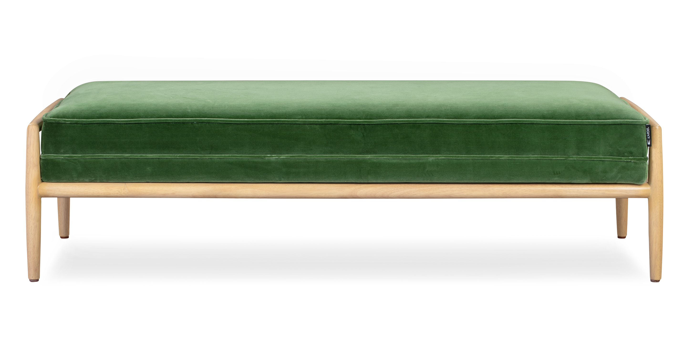 "Fritz 55"" Fabric Bench, Natural/Grass Velvet"