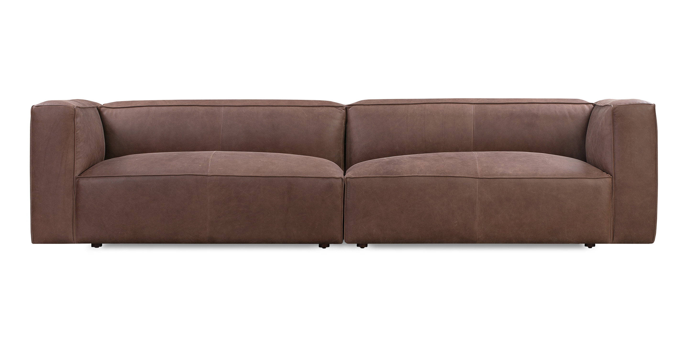 """Soho 110"""" Leather Sofa, Milano Mocha"""