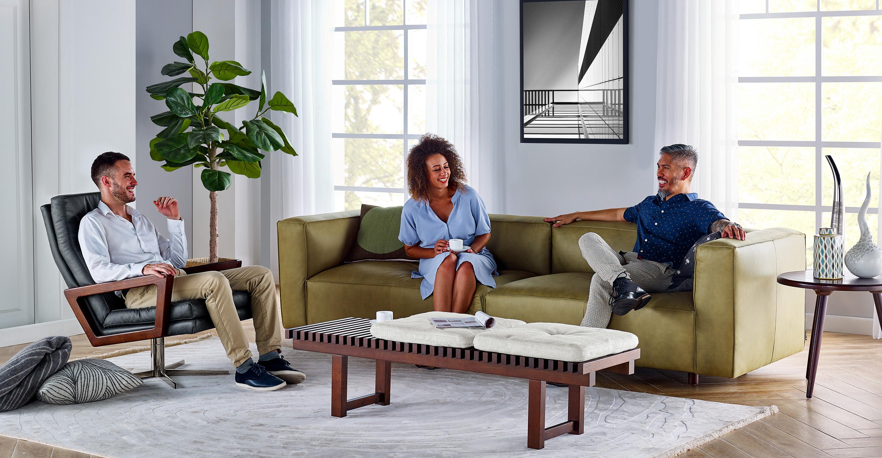 "Soho 110"" Leather Sofa, Olive Top Grain Full  Aniline Leather"