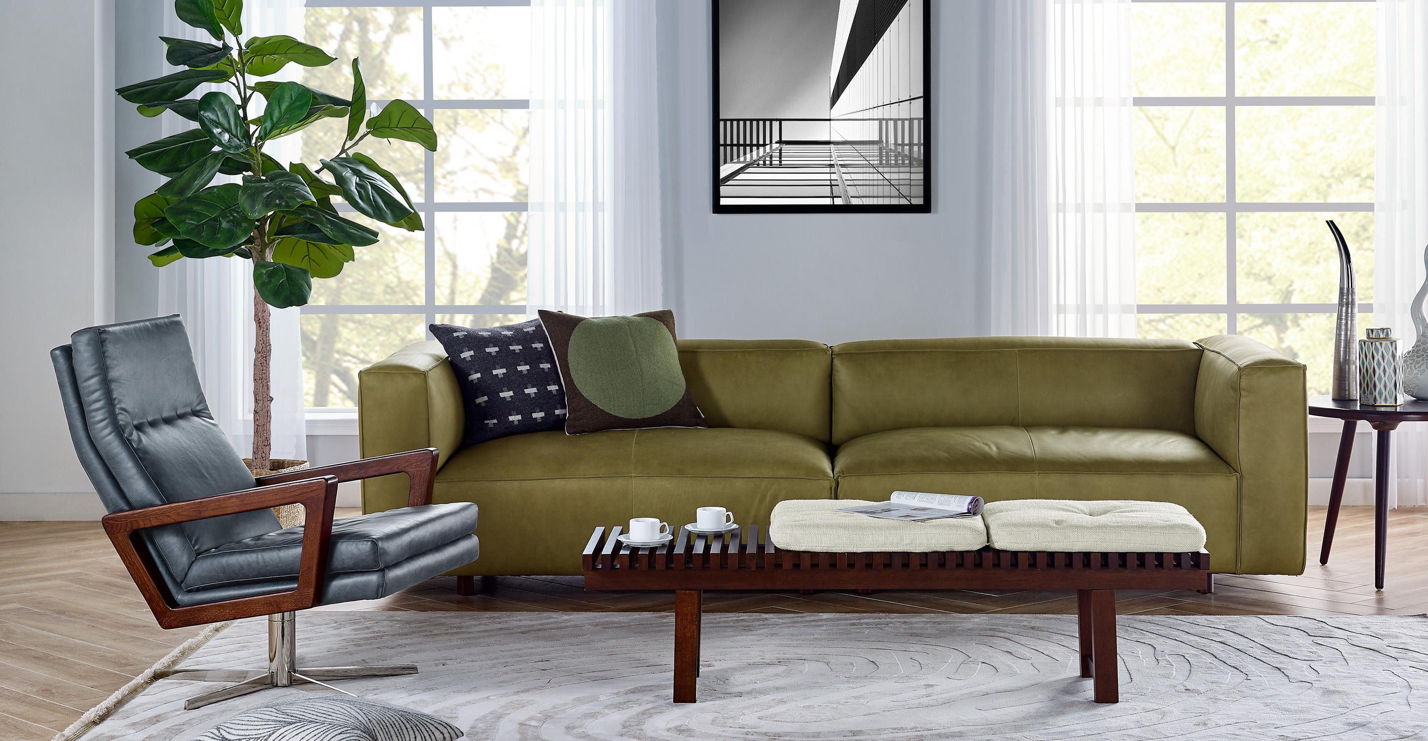"""Soho 110"""" Leather Sofa, Olive Full Grain Aniline Leather"""