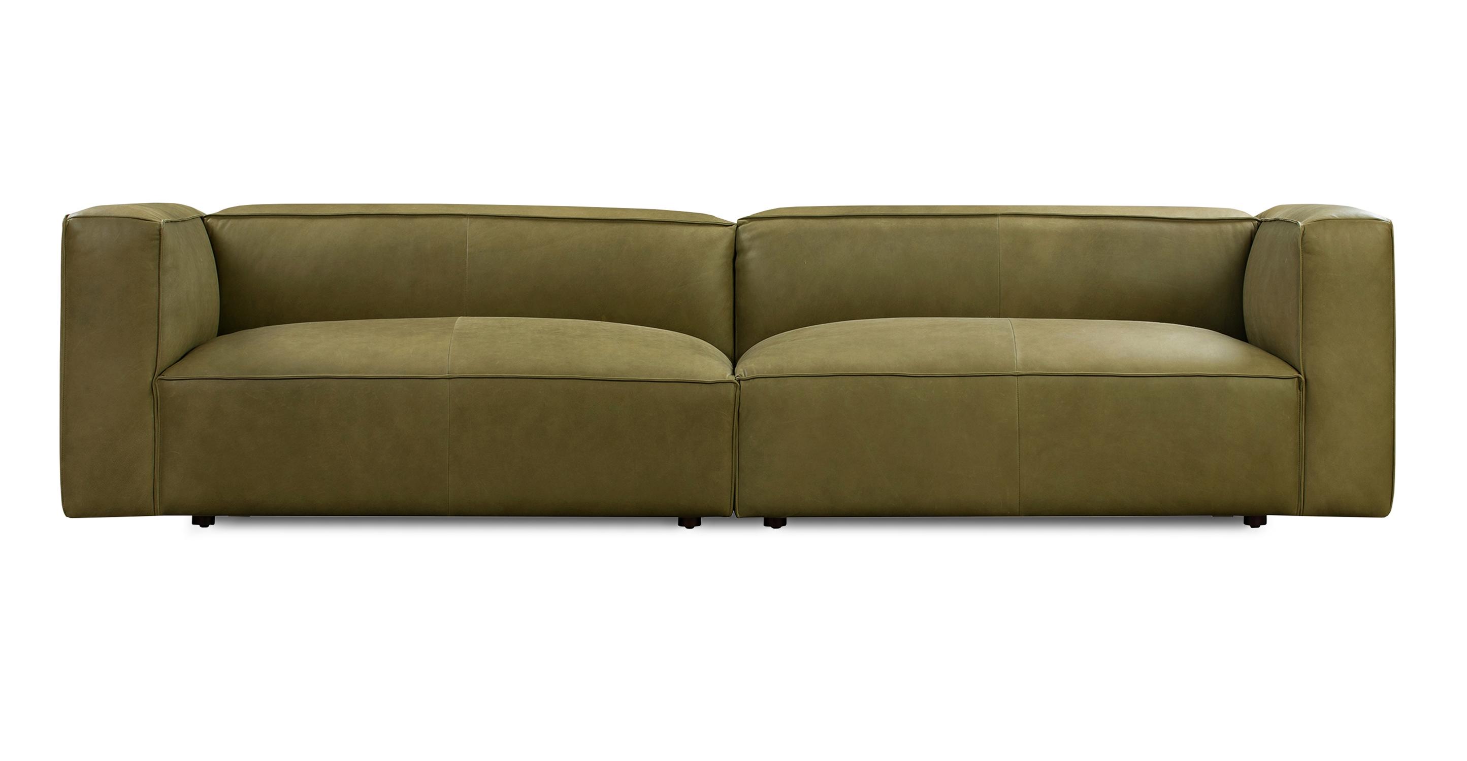 "Soho 110"" Leather Sofa, Verona Olive"