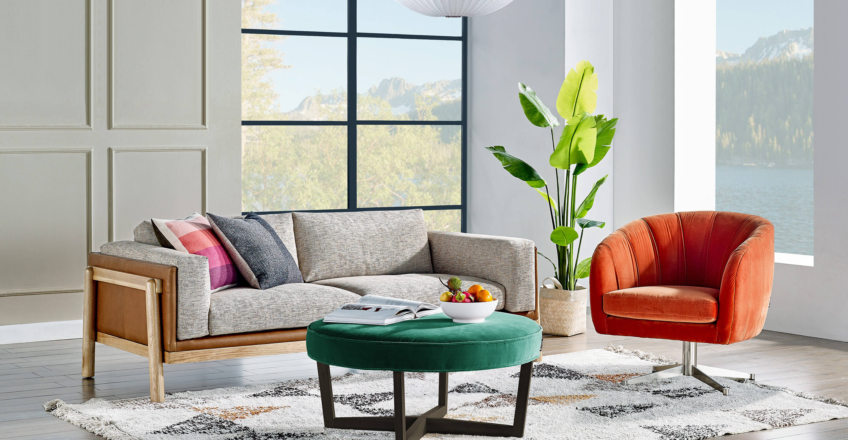 "Nordic 83"" Fusion Sofa, Cliff & Black"