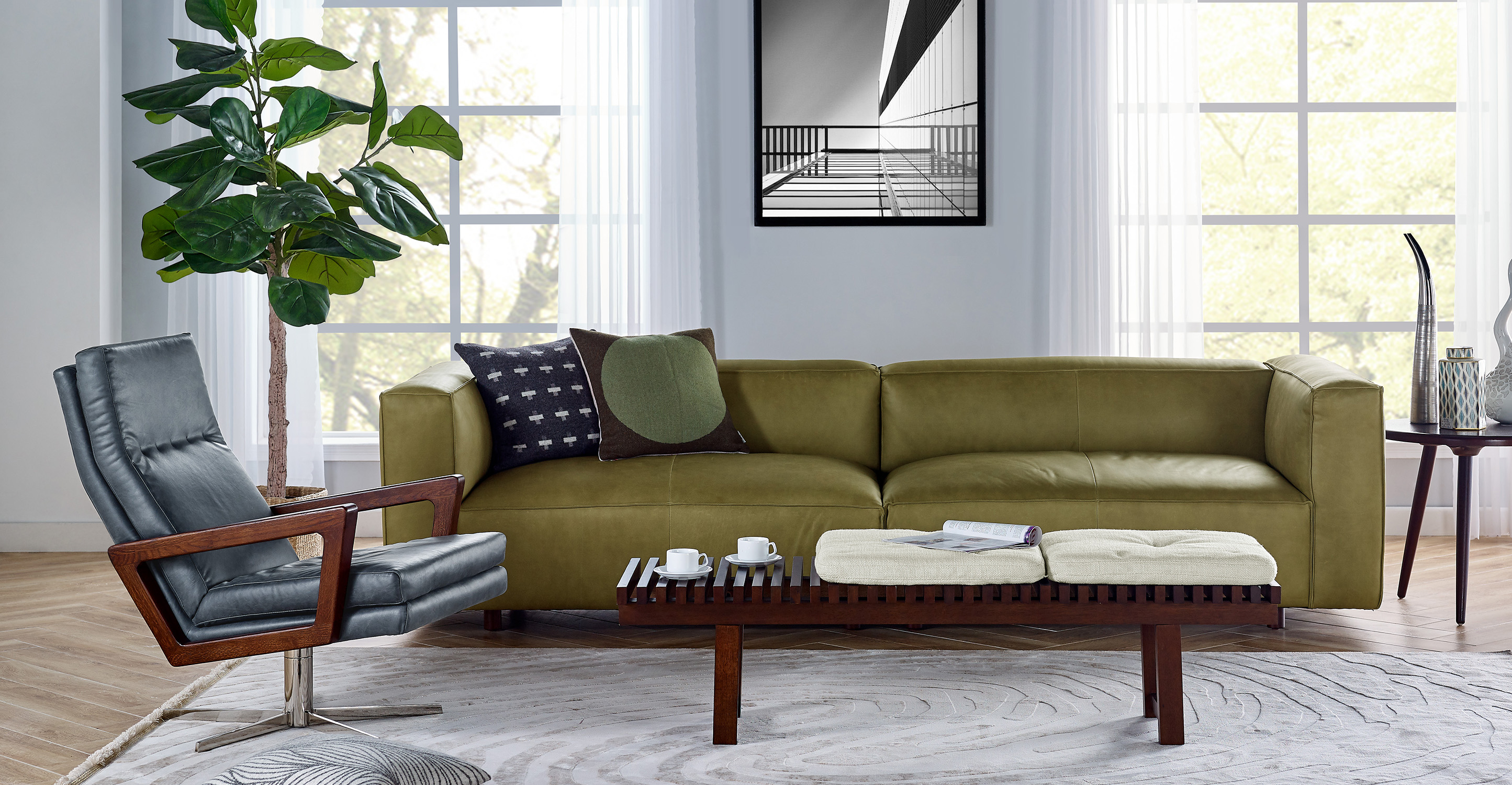 "Soho 110"" Leather Sofa, Russet Full Grain Aniline Leather"