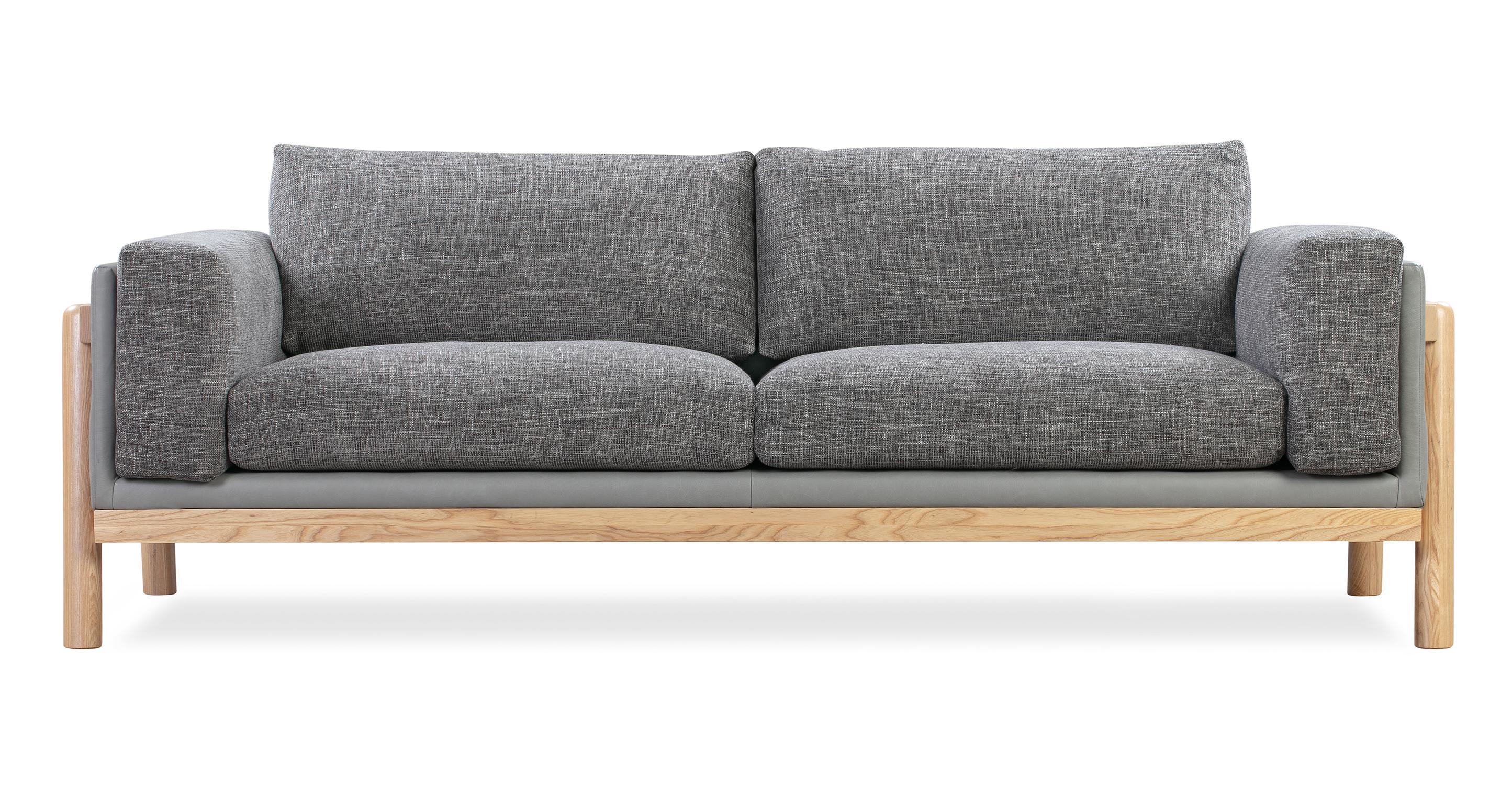 "Nordic 83"" Fusion Sofa, Stone & Iron Ore Woven"