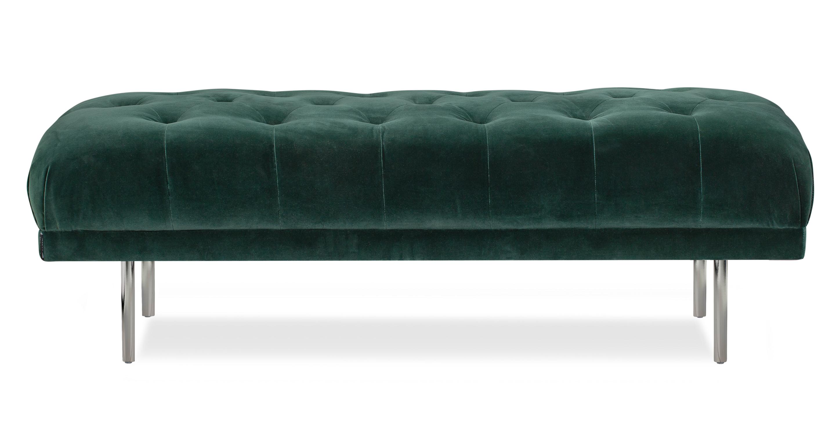 """Boop 56"""" Fabric Bench, Emerald Velvet"""