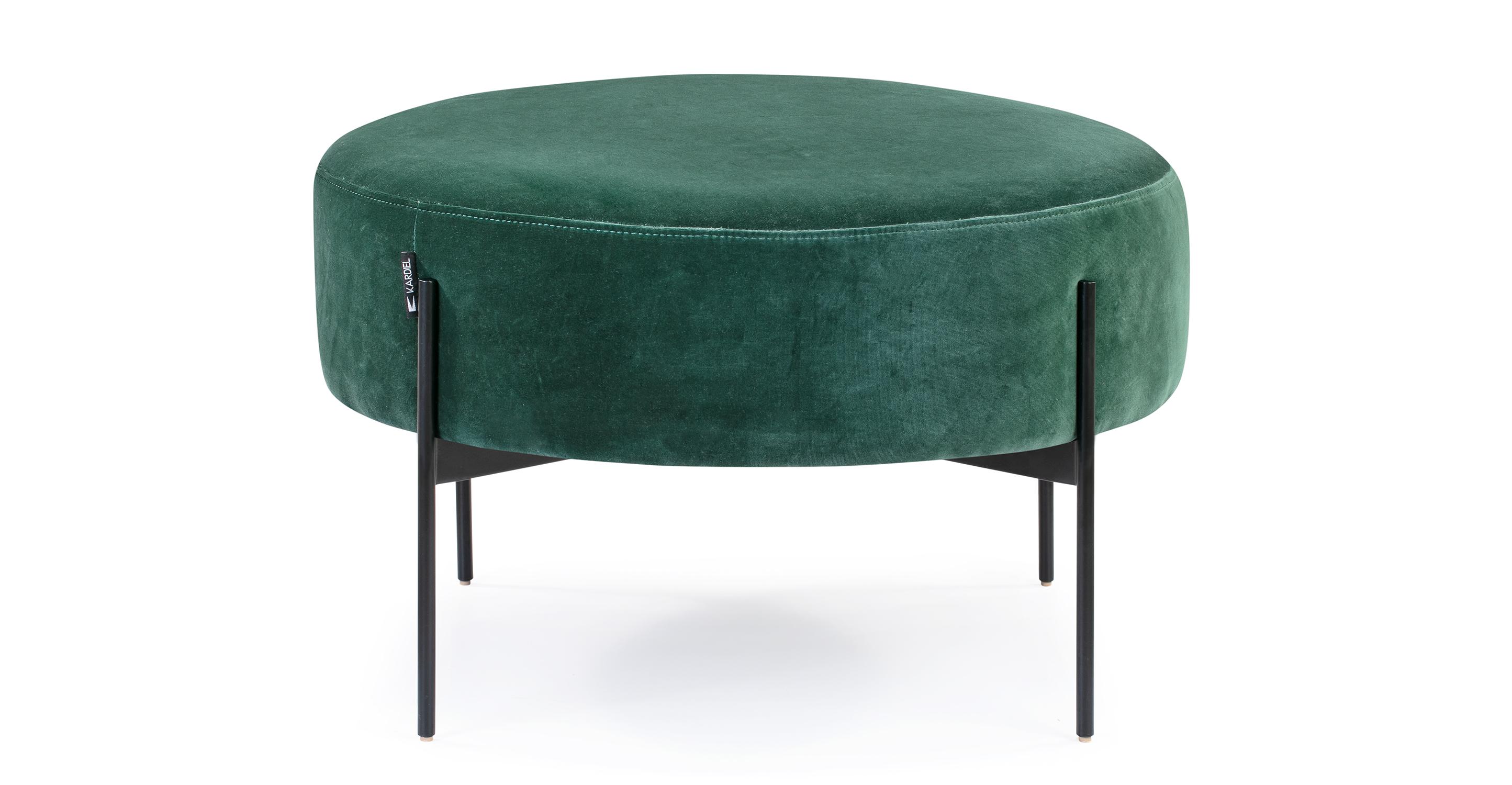"""Dot 27"""" Fabric Ottoman, Emerald Velvet"""