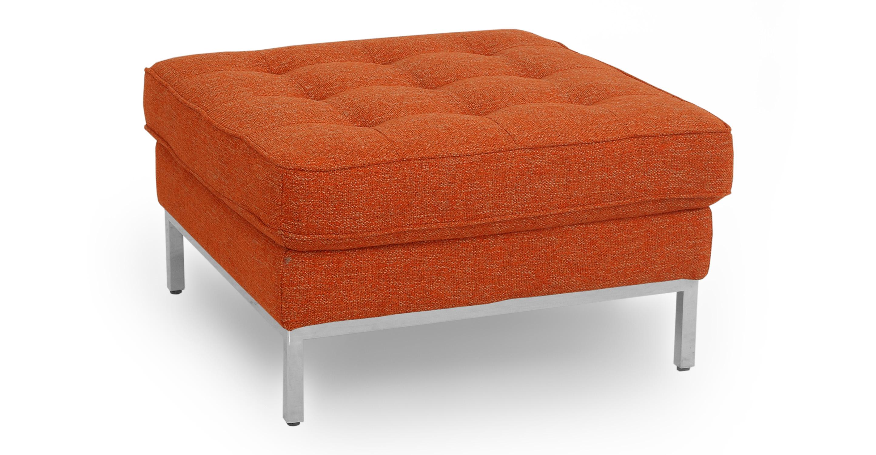 "Florence 28"" Fabric Ottoman, Tangerine"