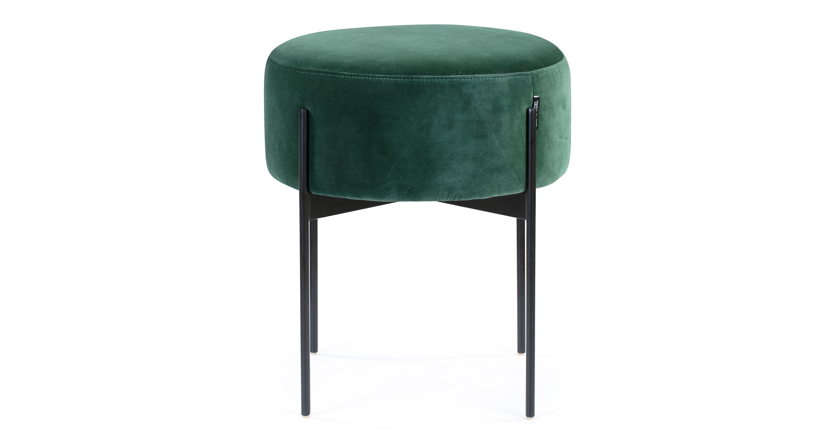 "Dot 18"" Fabric Ottoman, Emerald Velvet"