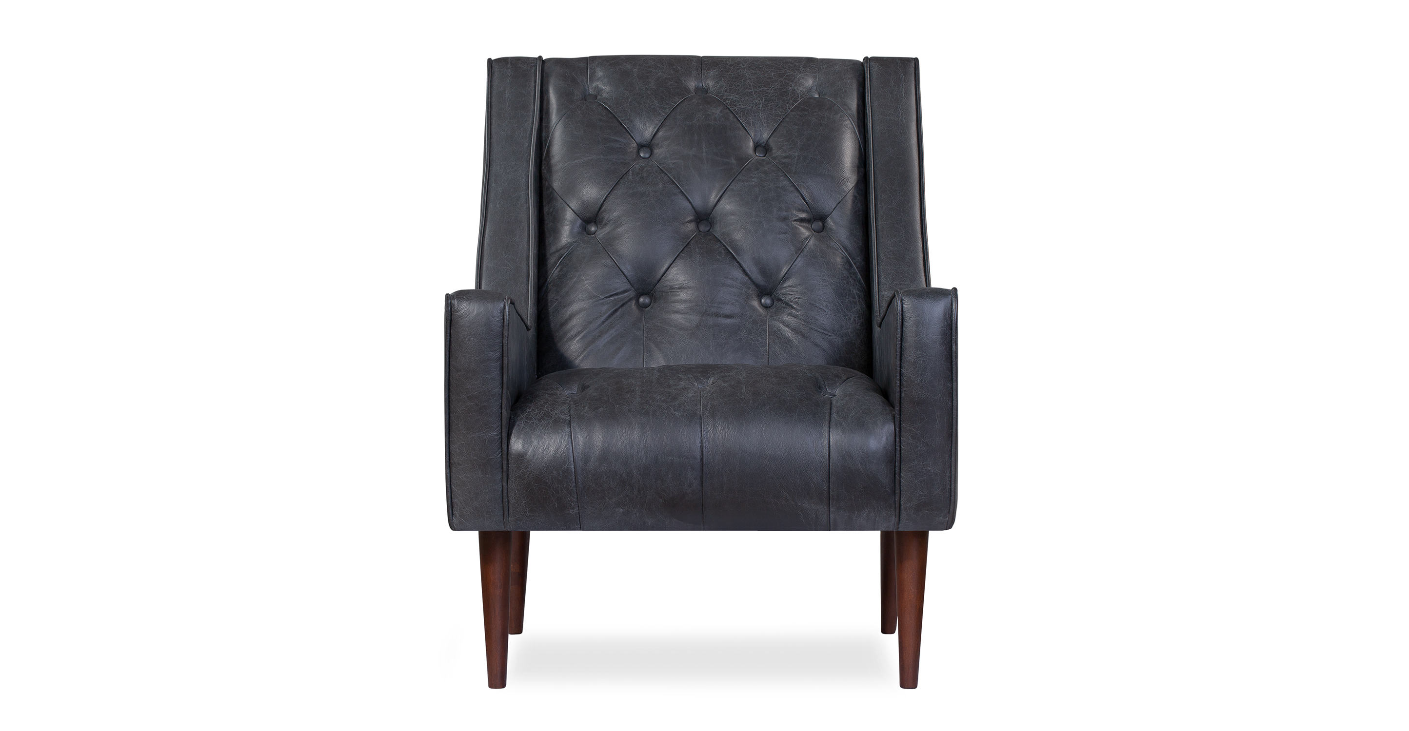 "Krisel 28"" Leather Chair, Black Top Grain Semi Aniline Leather"
