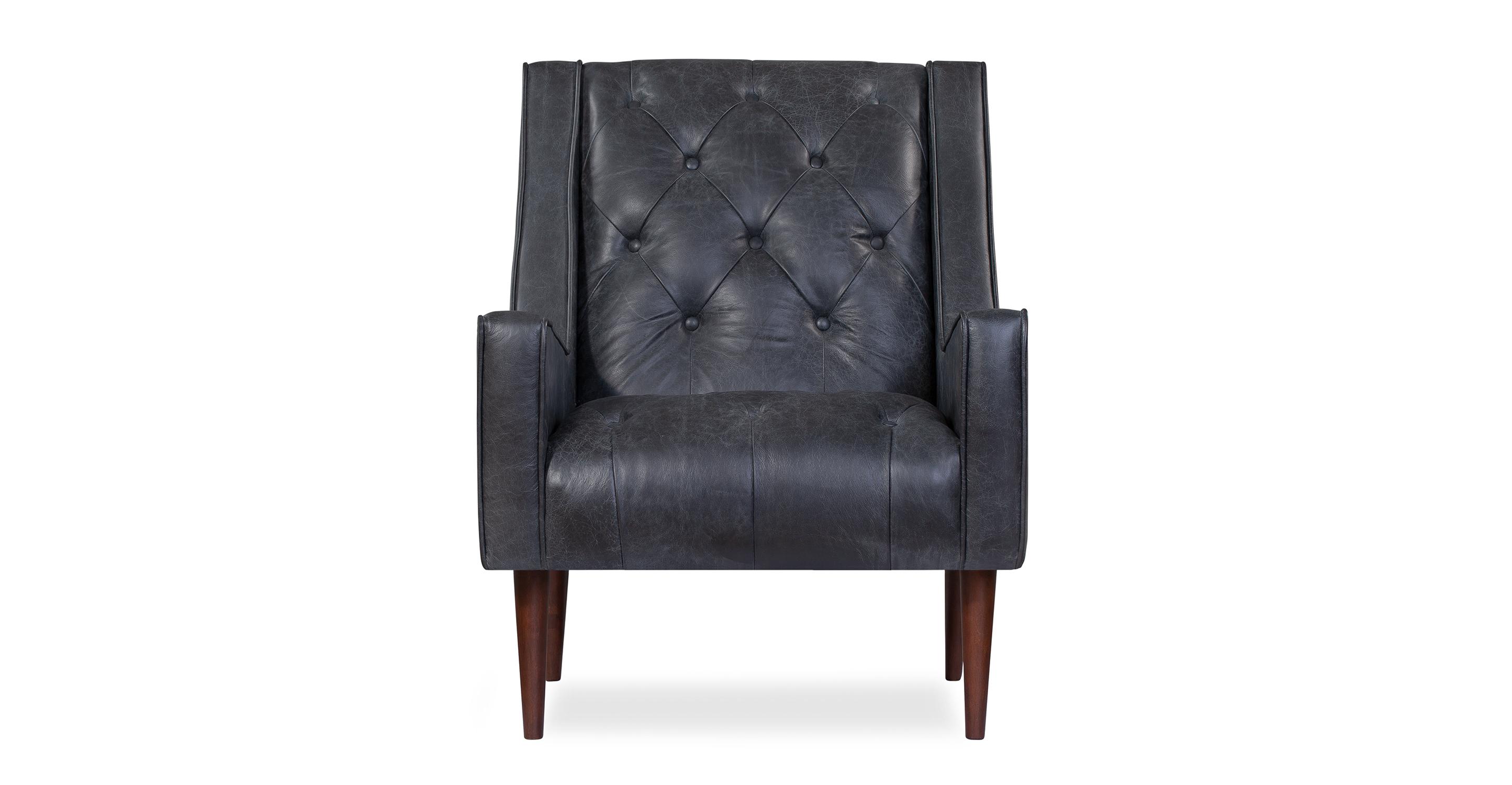 "Krisel 27"" Leather Chair, Napoli Black"