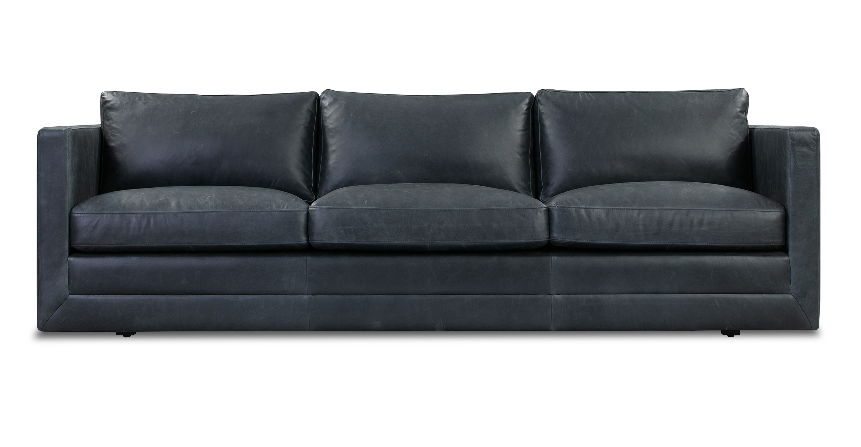 "Manhattan 85"" Leather Sofa, Milano Black"