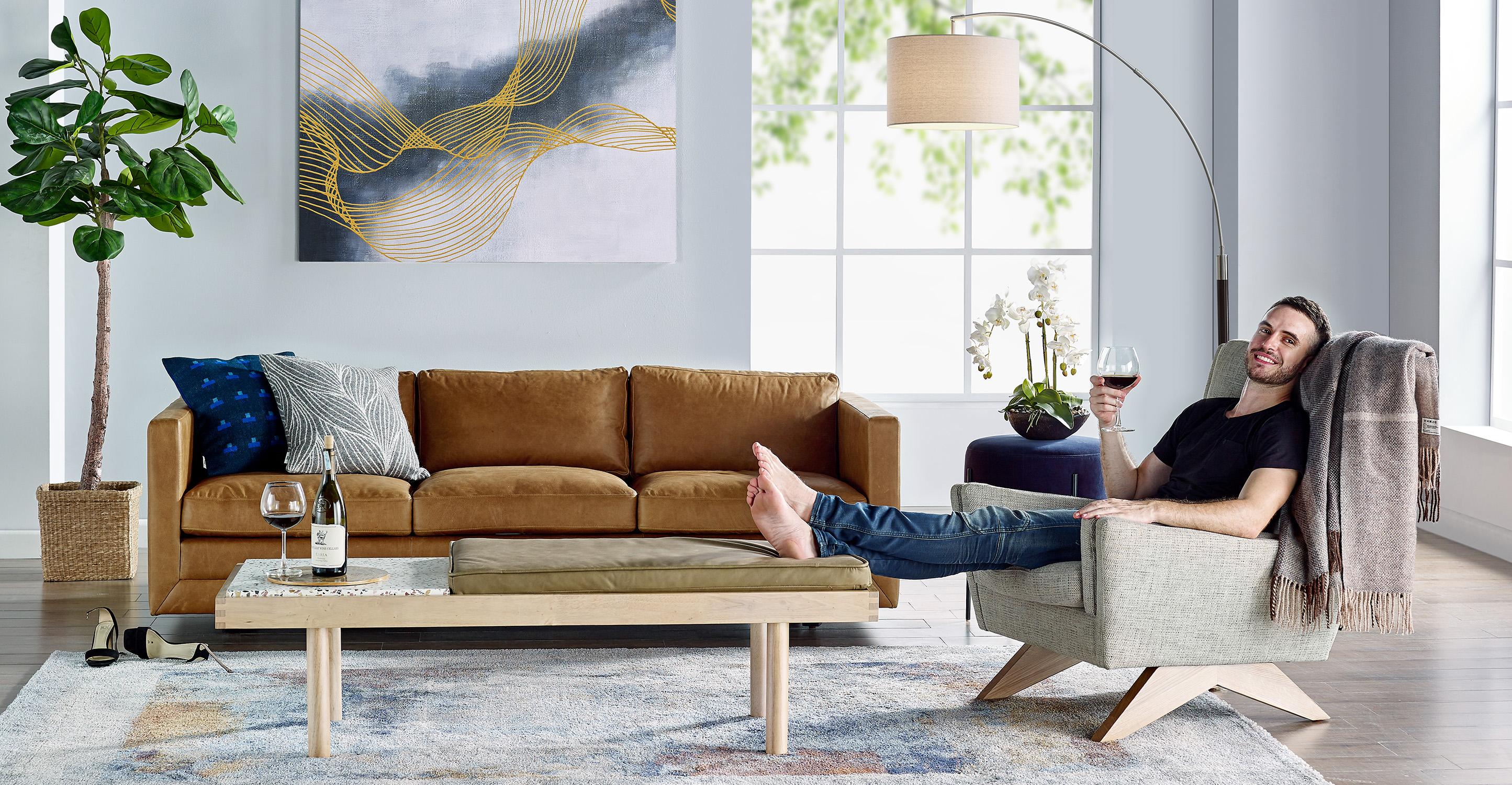 "Manhattan 85"" Leather Sofa, Russet Top Grain Full Aniline"
