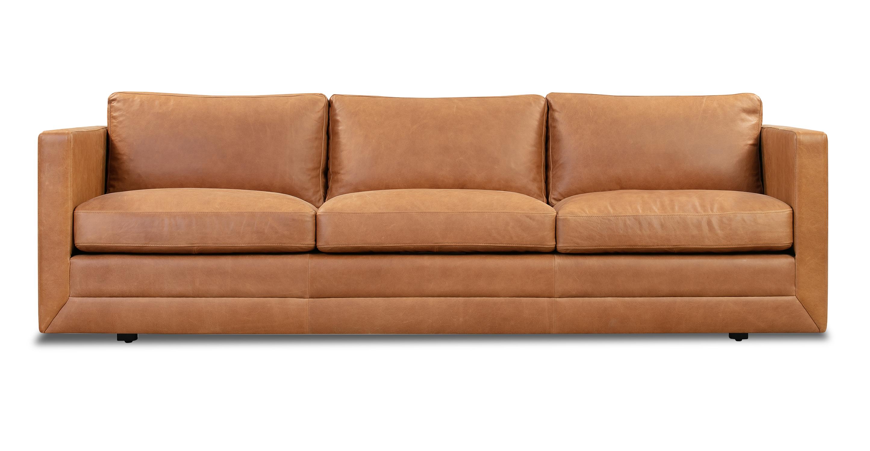 """Manhattan 85"""" Leather Sofa, Milano Russett"""