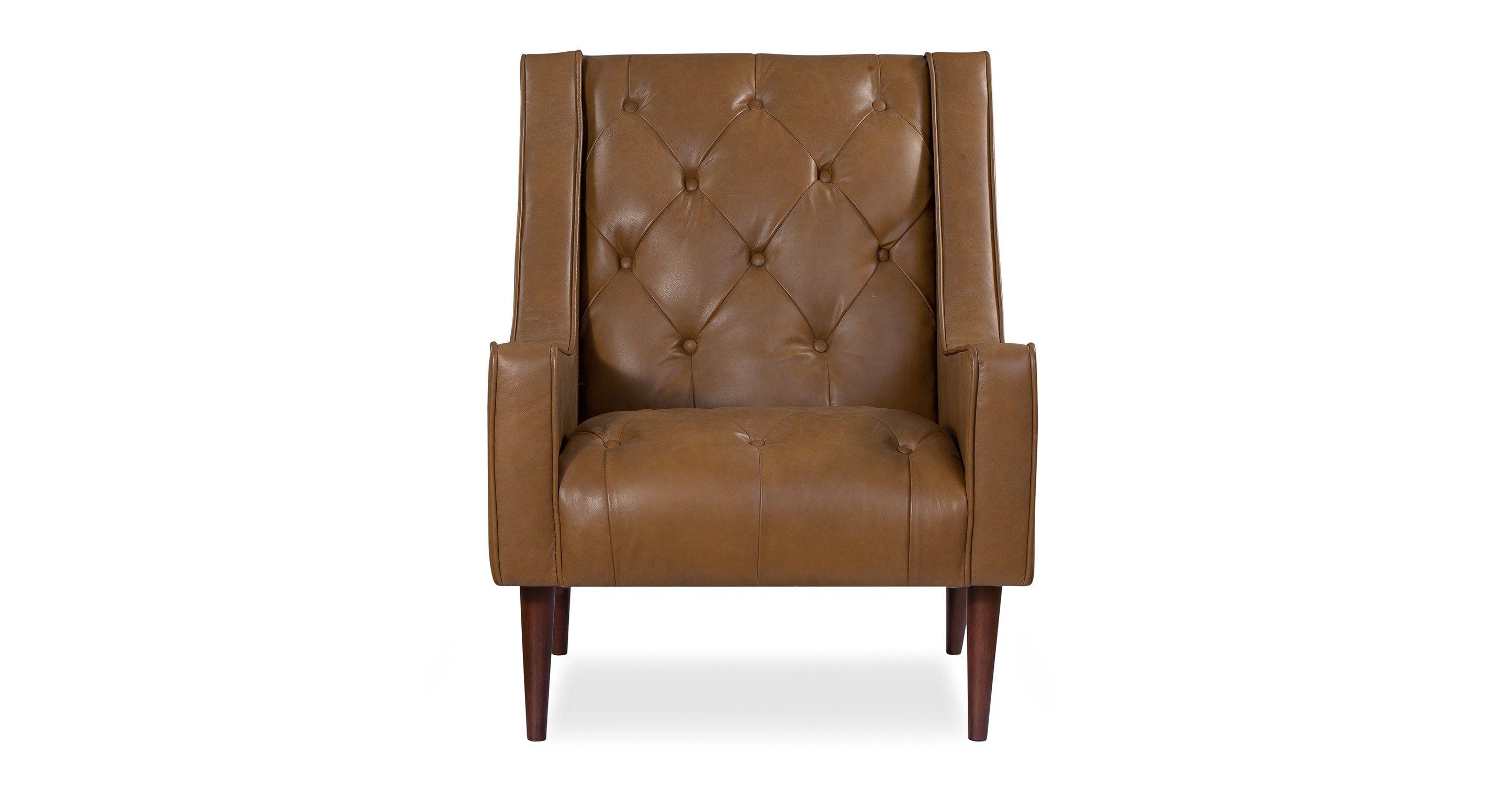 "Krisel 28"" Leather Chair, Honey Top Grain Semi Aniline Leather"