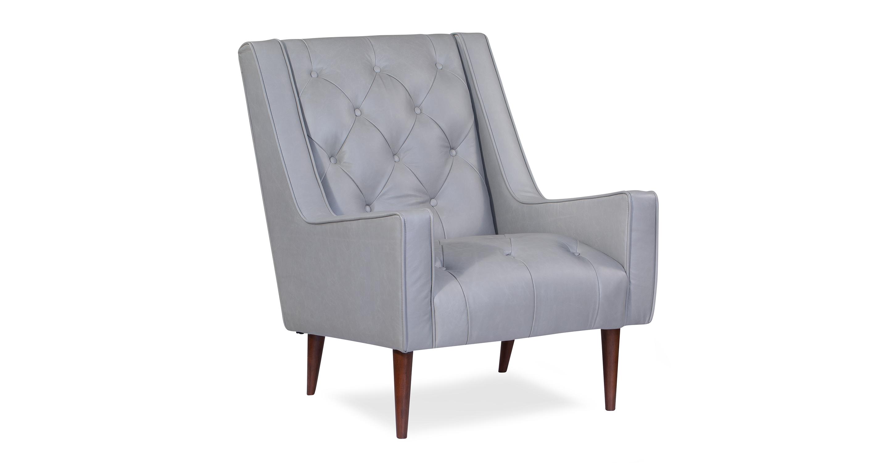 "Krisel 27"" Leather Chair, Stone Top Grain Semi Aniline Leather"