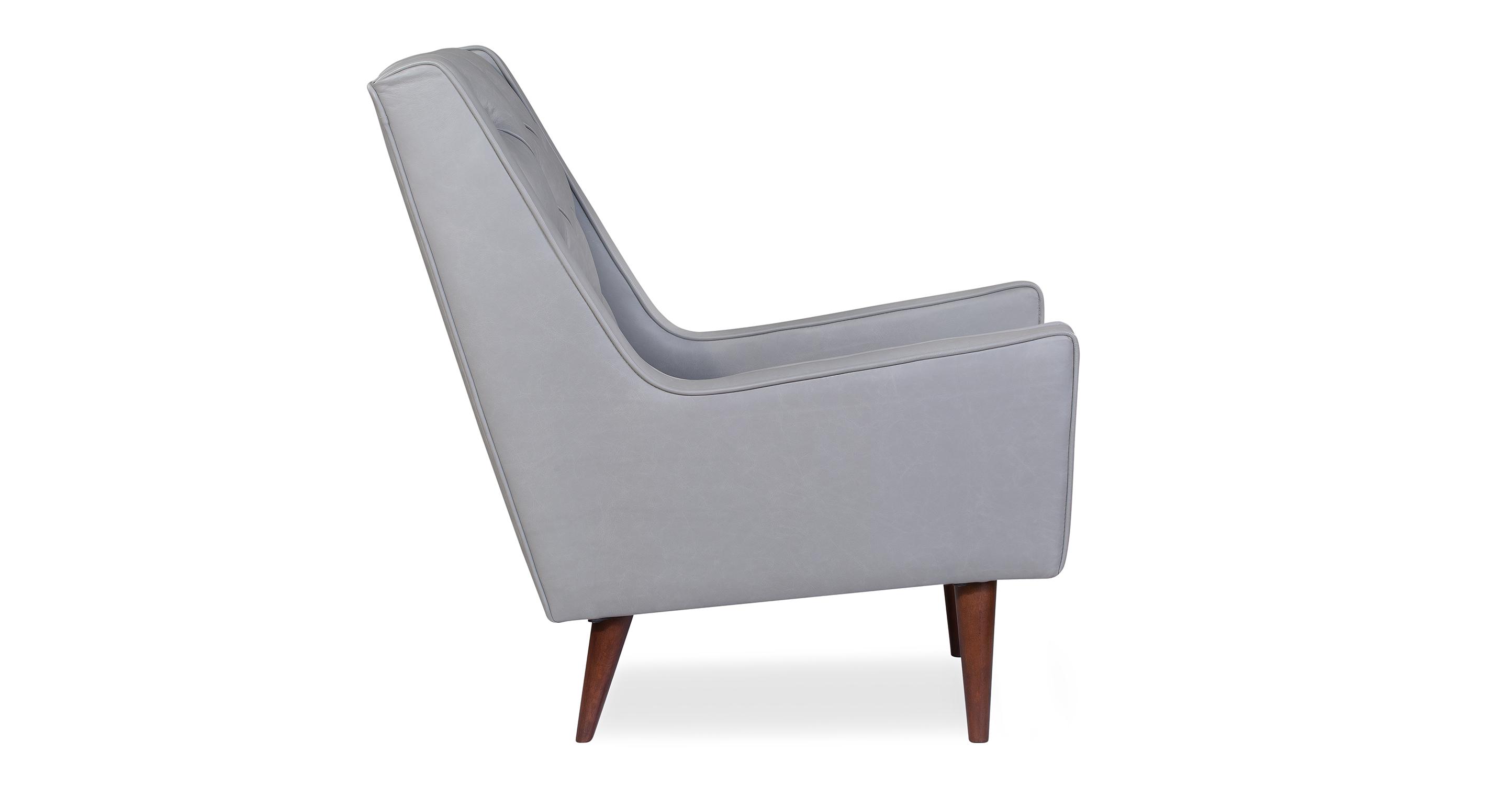 "Krisel 28"" Leather Chair, Stone Top Grain Semi Aniline Leather"