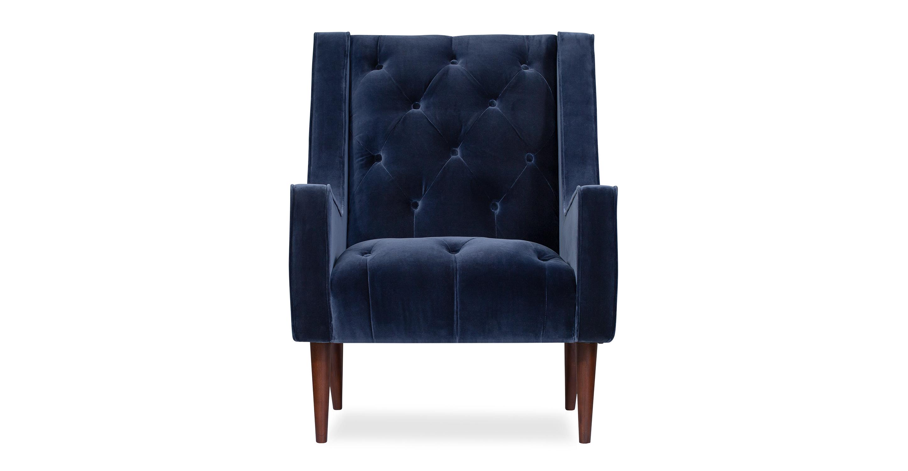 """Krisel 27"""" Fabric Chair, Admiral Velvet"""